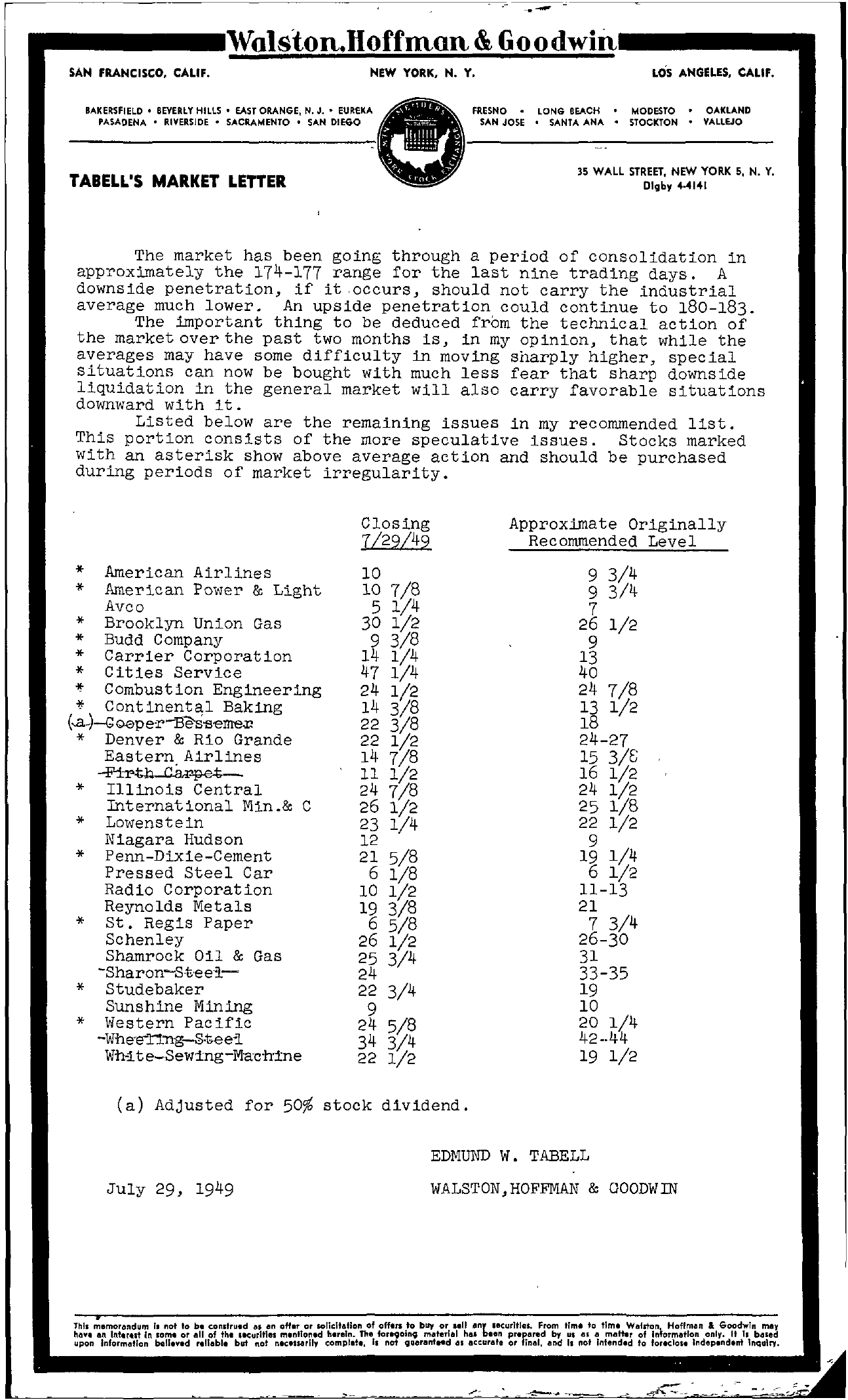 Tabell's Market Letter - July 29, 1949