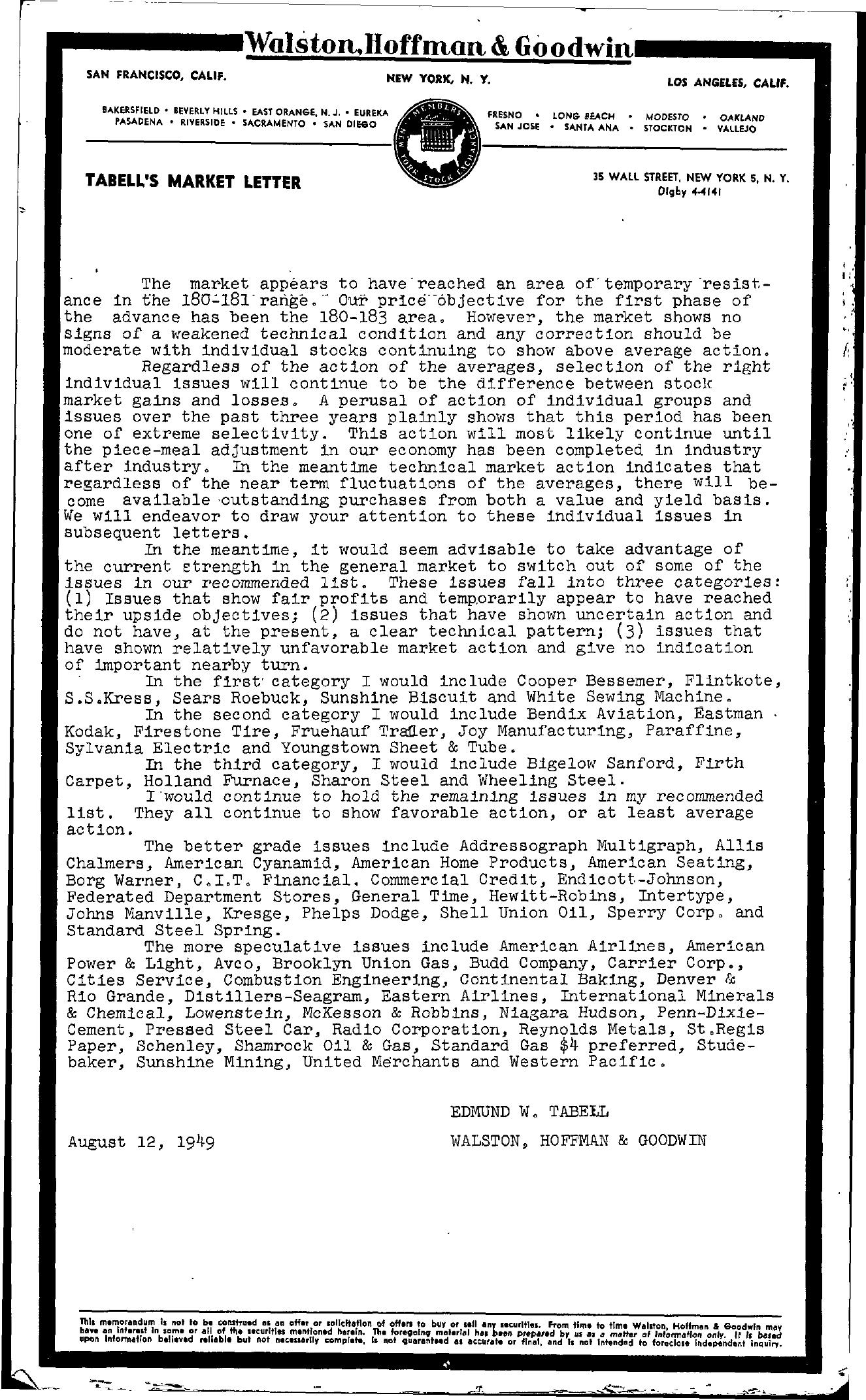 Tabell's Market Letter - August 12, 1949