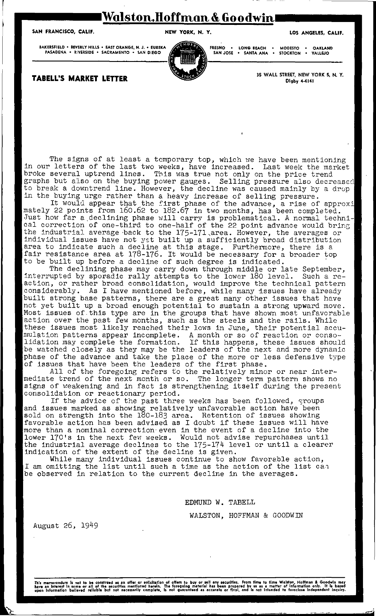 Tabell's Market Letter - August 26, 1949