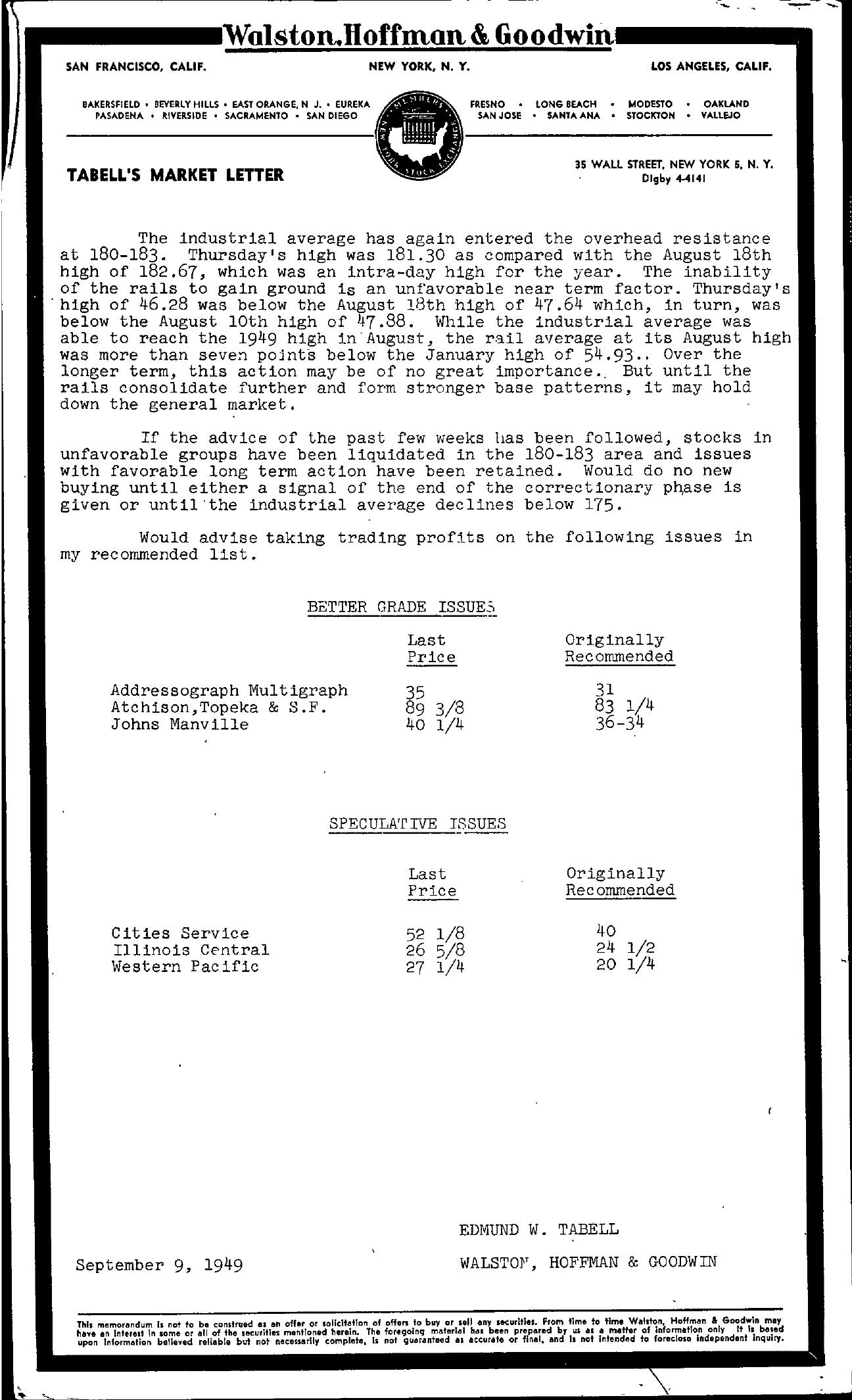 Tabell's Market Letter - September 09, 1949