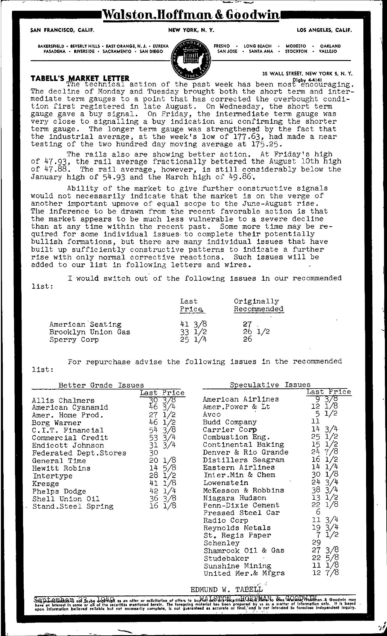 Tabell's Market Letter - September 23, 1949