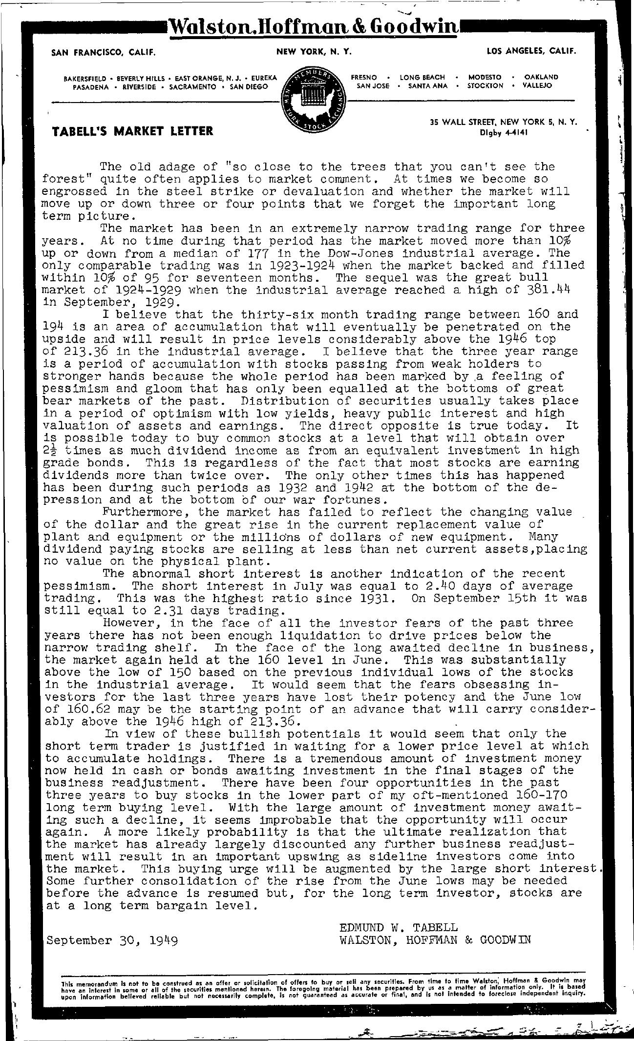 Tabell's Market Letter - September 30, 1949