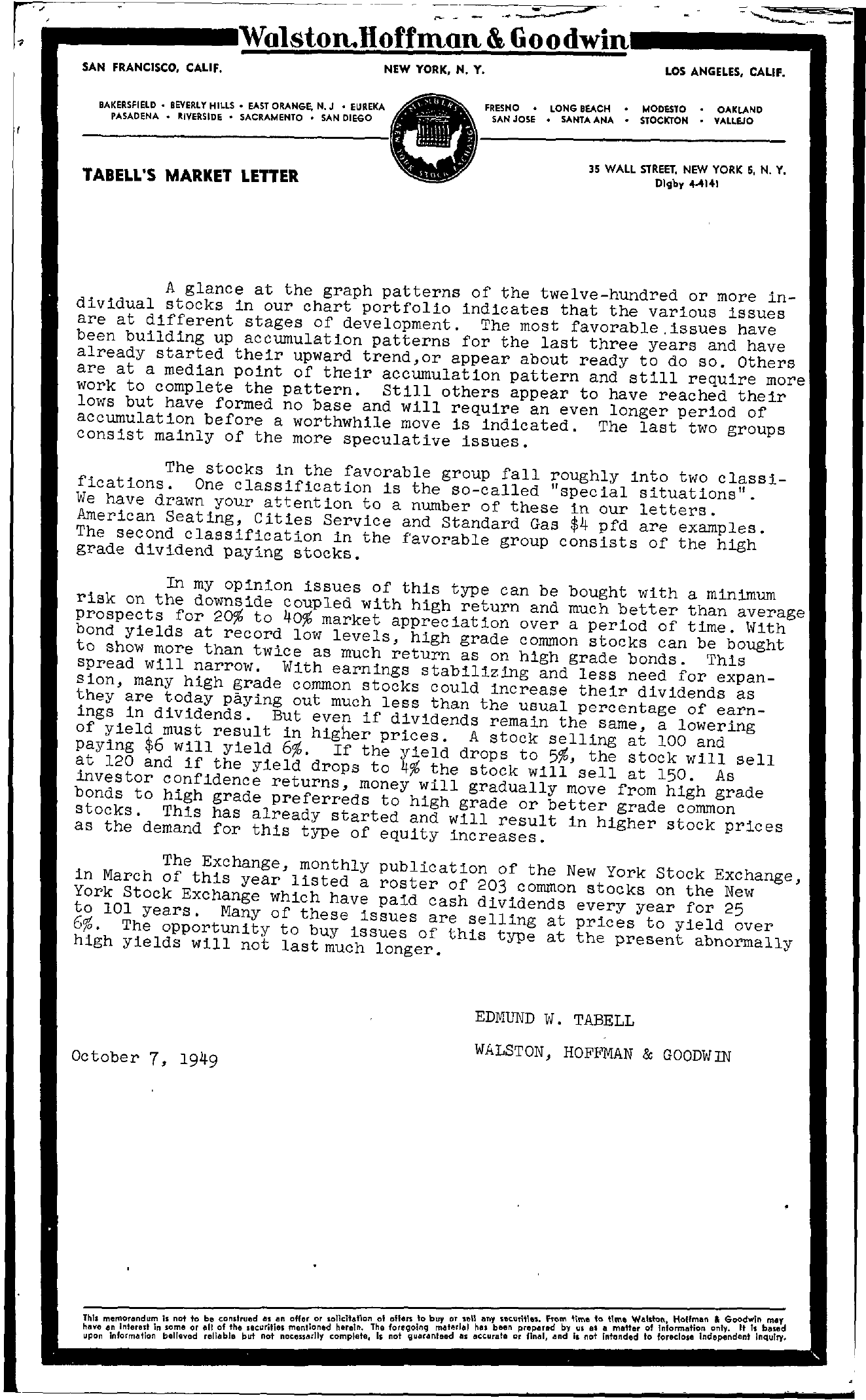 Tabell's Market Letter - October 07, 1949