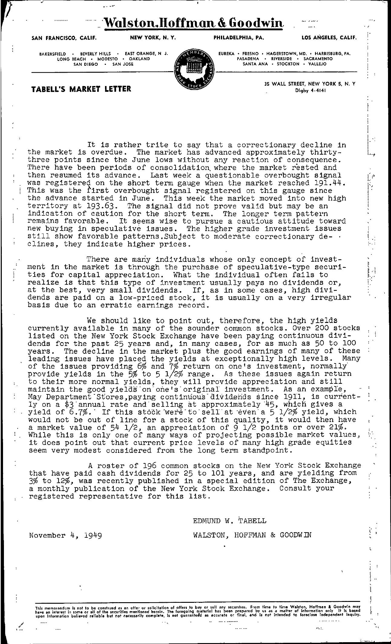 Tabell's Market Letter - November 04, 1949