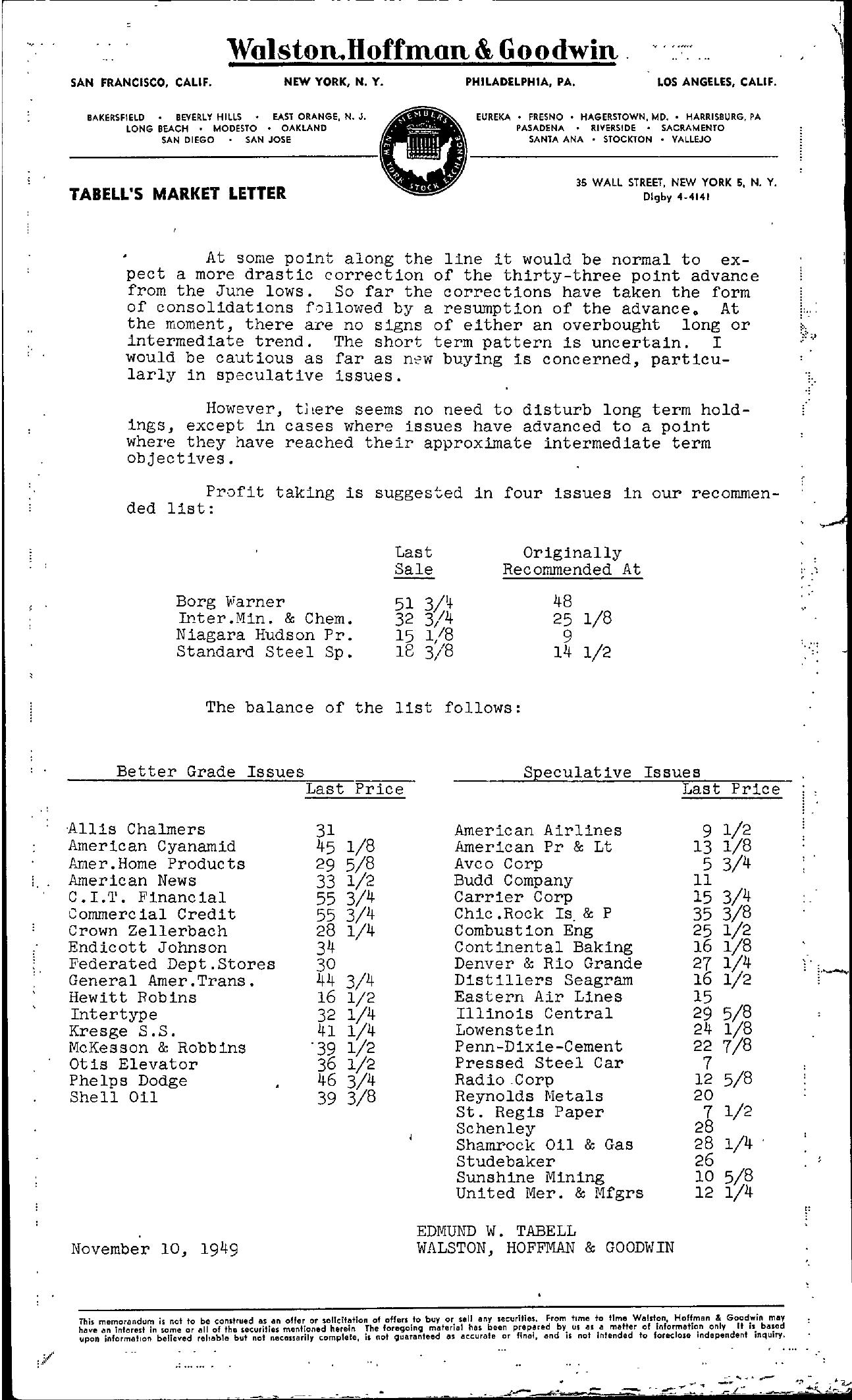 Tabell's Market Letter - November 10, 1949