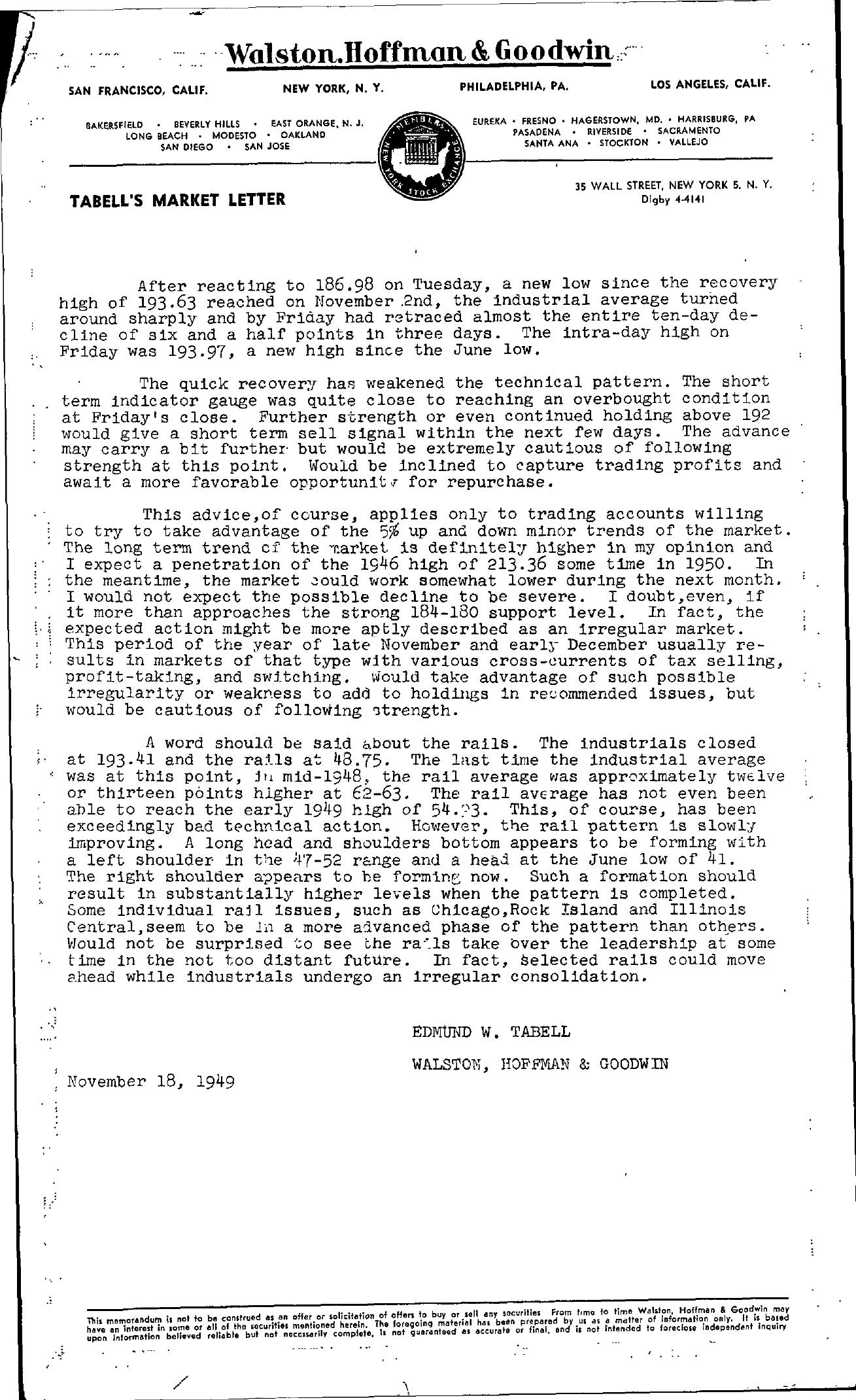 Tabell's Market Letter - November 18, 1949