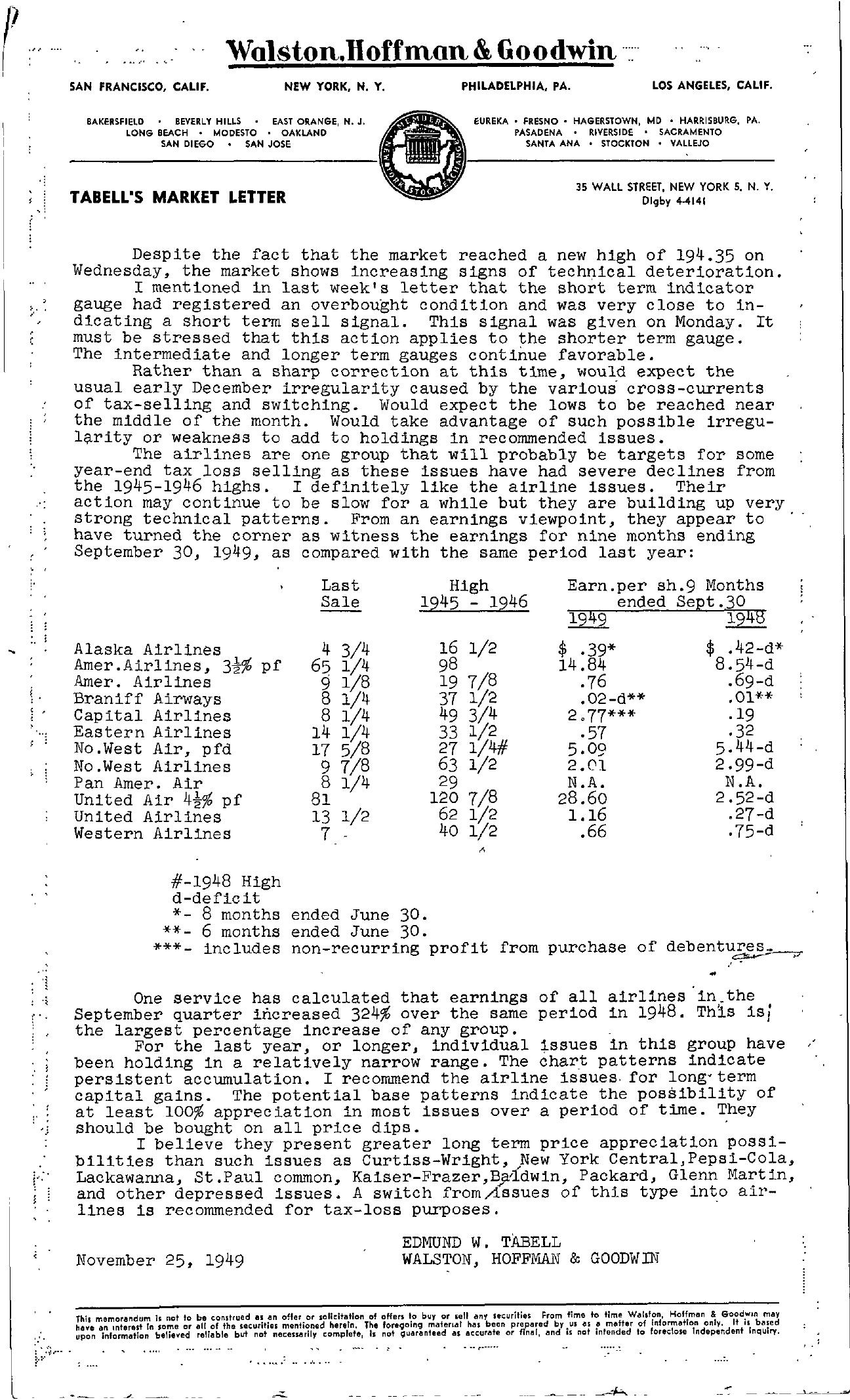 Tabell's Market Letter - November 25, 1949