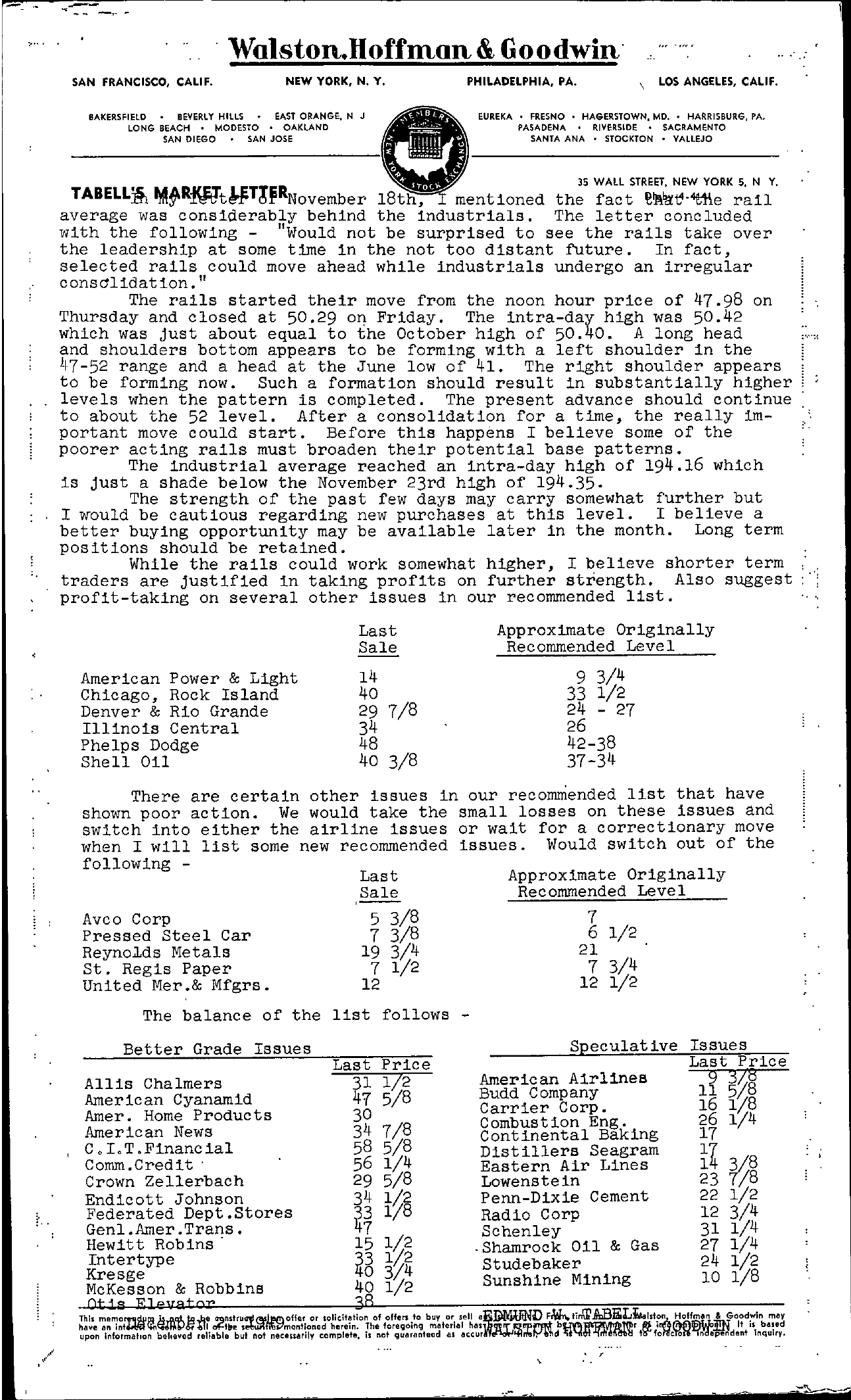 Tabell's Market Letter - December 02, 1949