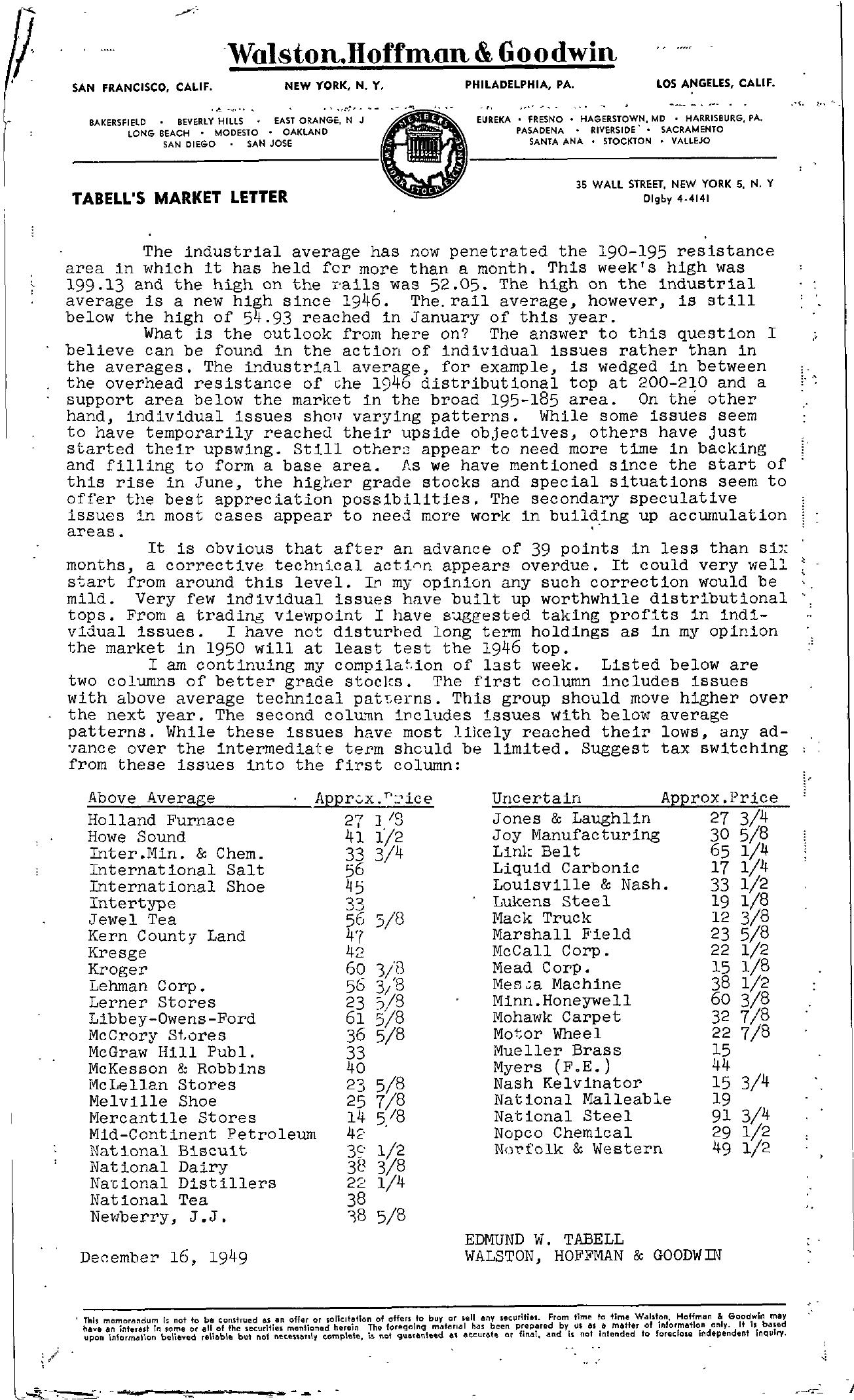 Tabell's Market Letter - December 16, 1949