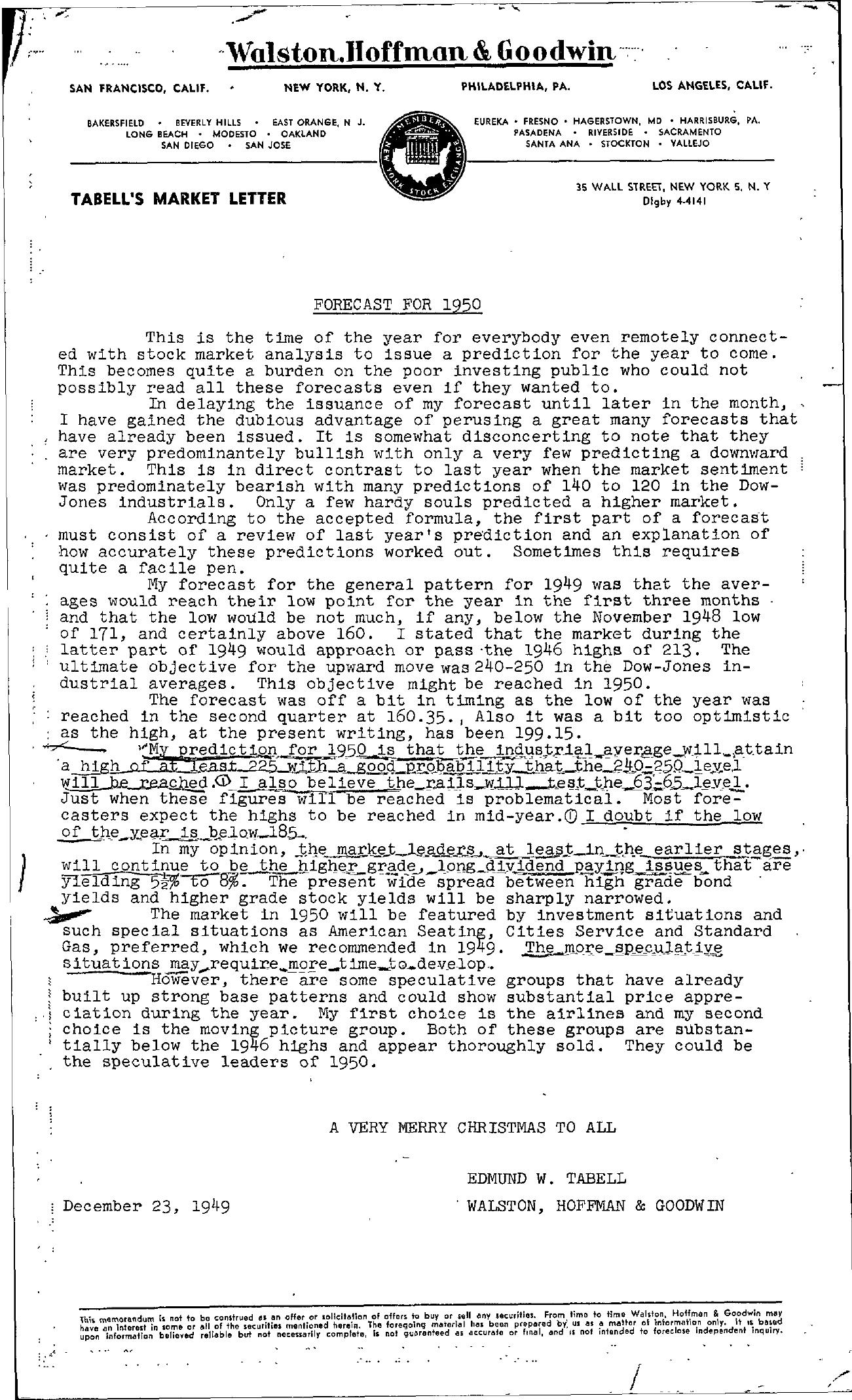 Tabell's Market Letter - December 23, 1949
