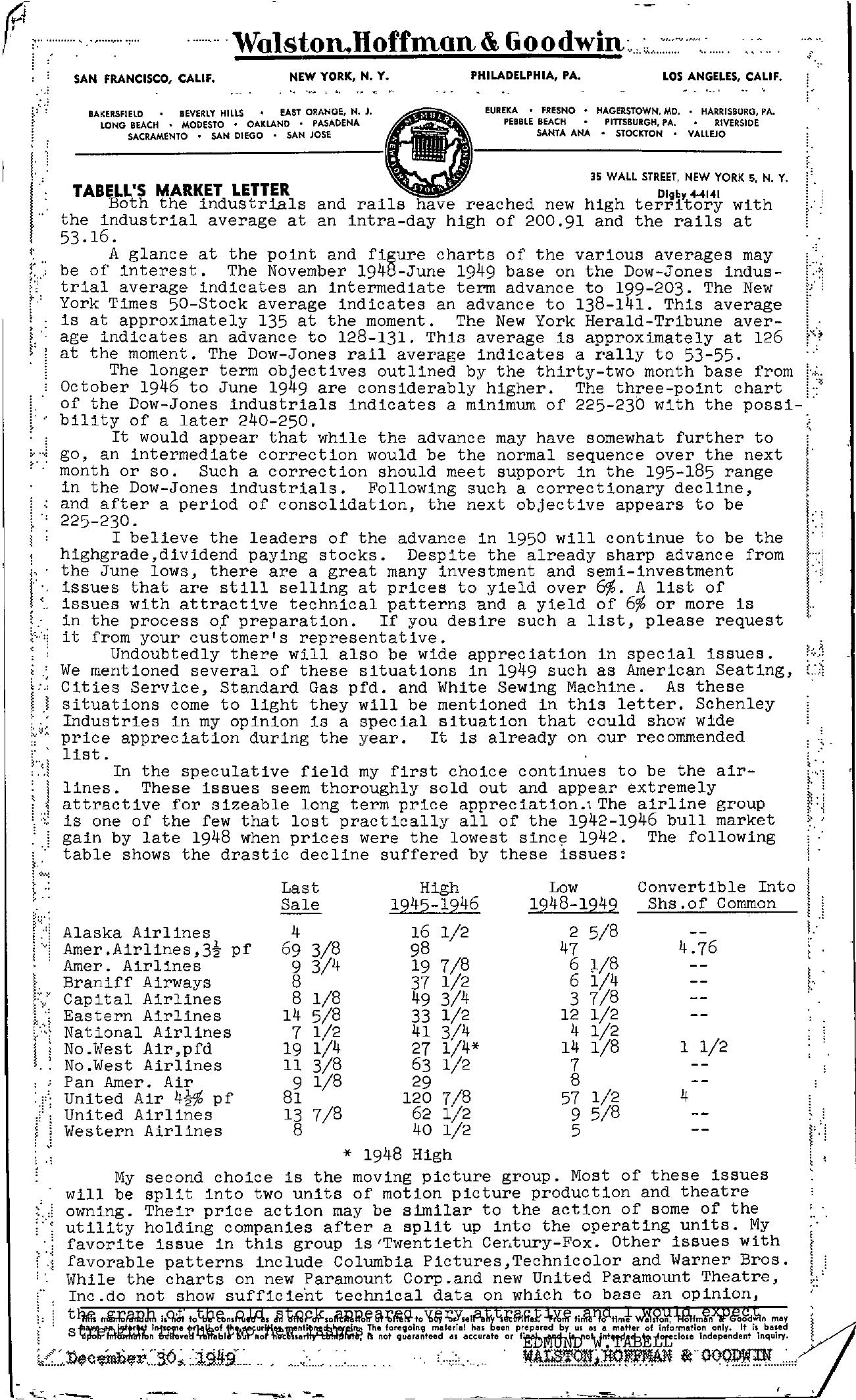 Tabell's Market Letter - December 30, 1949