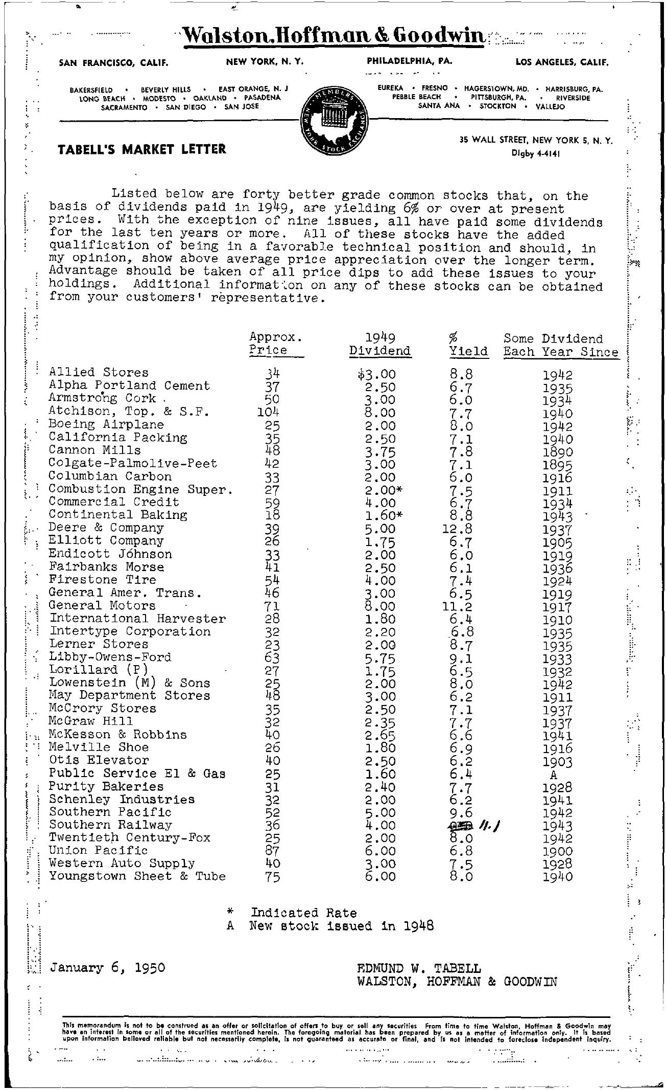 Tabell's Market Letter - January 06, 1950