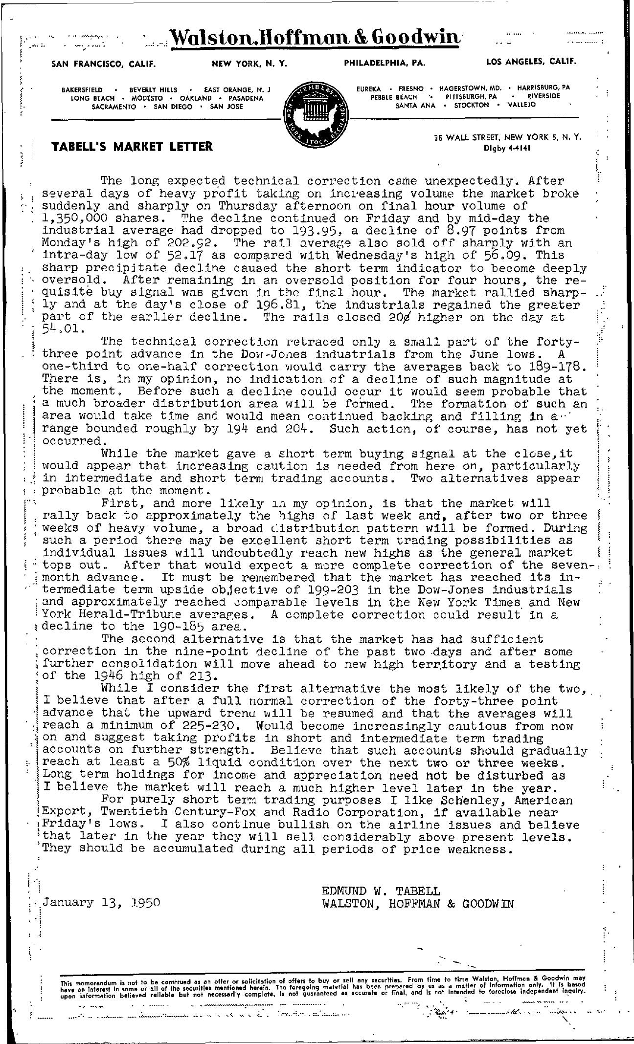 Tabell's Market Letter - January 13, 1950