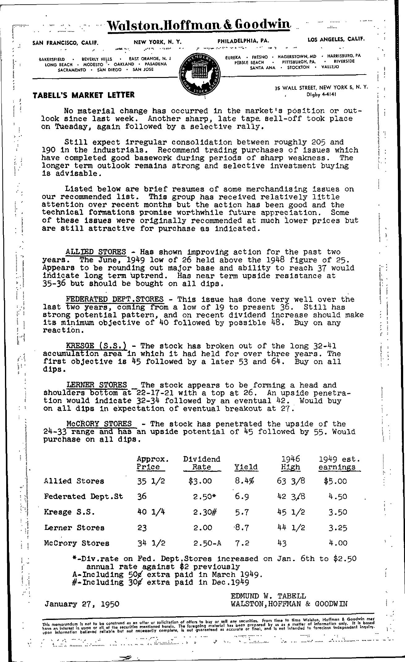 Tabell's Market Letter - January 27, 1950