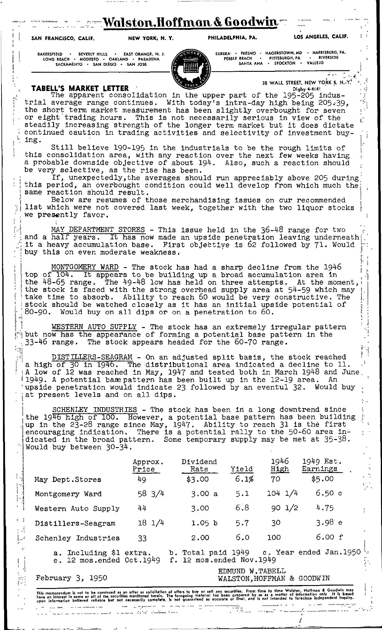 Tabell's Market Letter - February 03, 1950