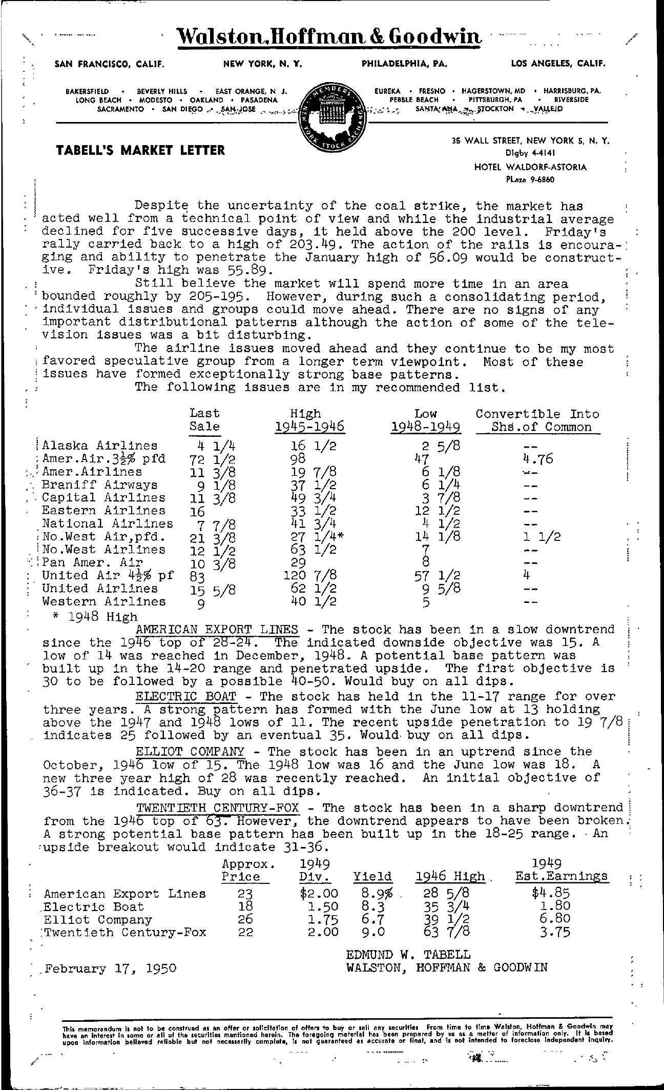 Tabell's Market Letter - February 17, 1950