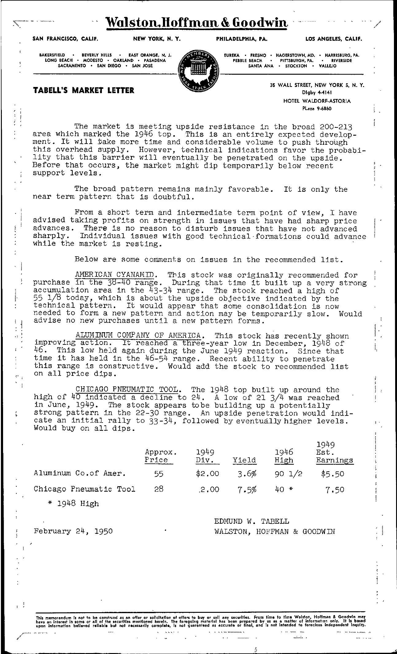 Tabell's Market Letter - February 24, 1950