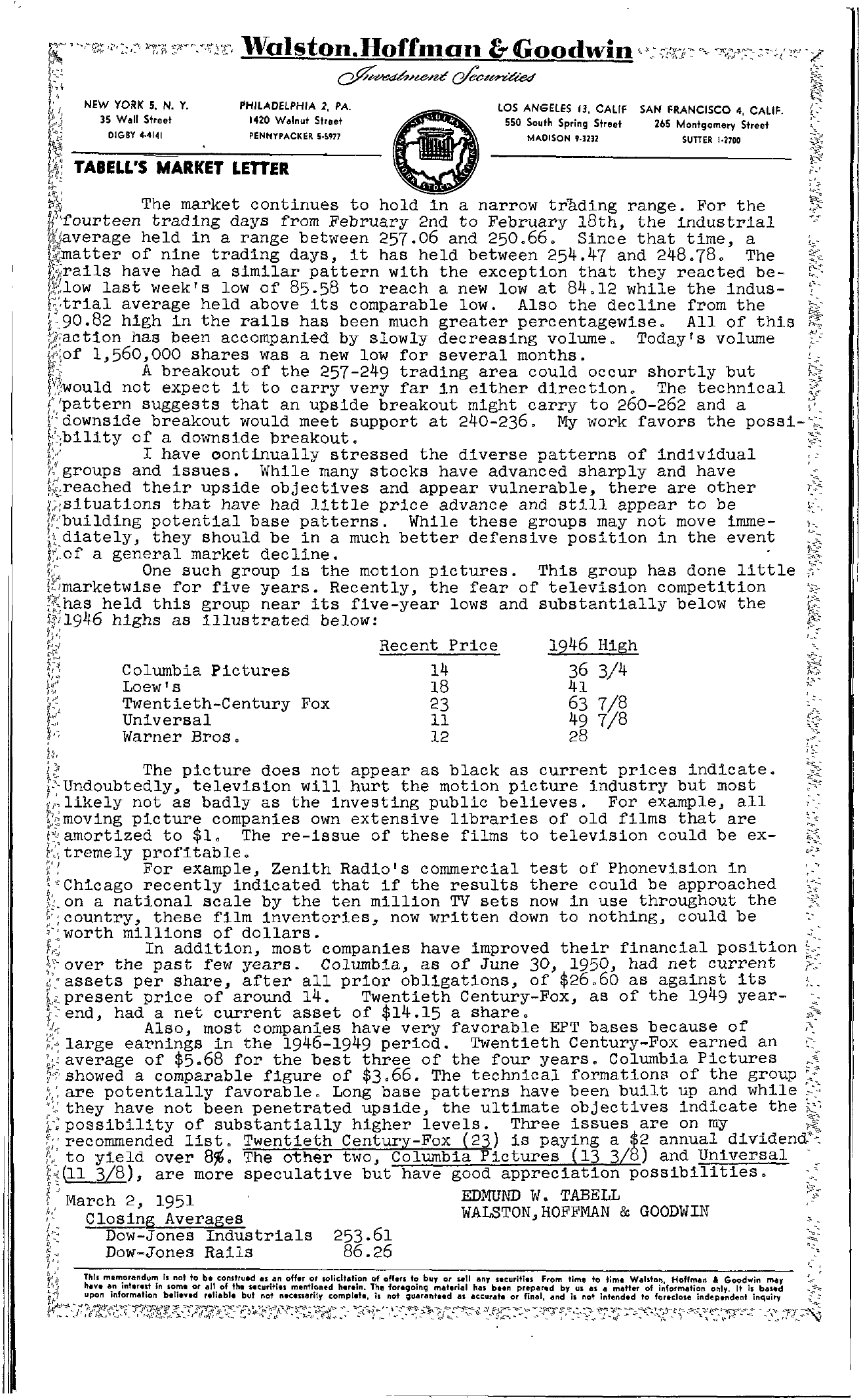Tabell's Market Letter - March 02, 1950