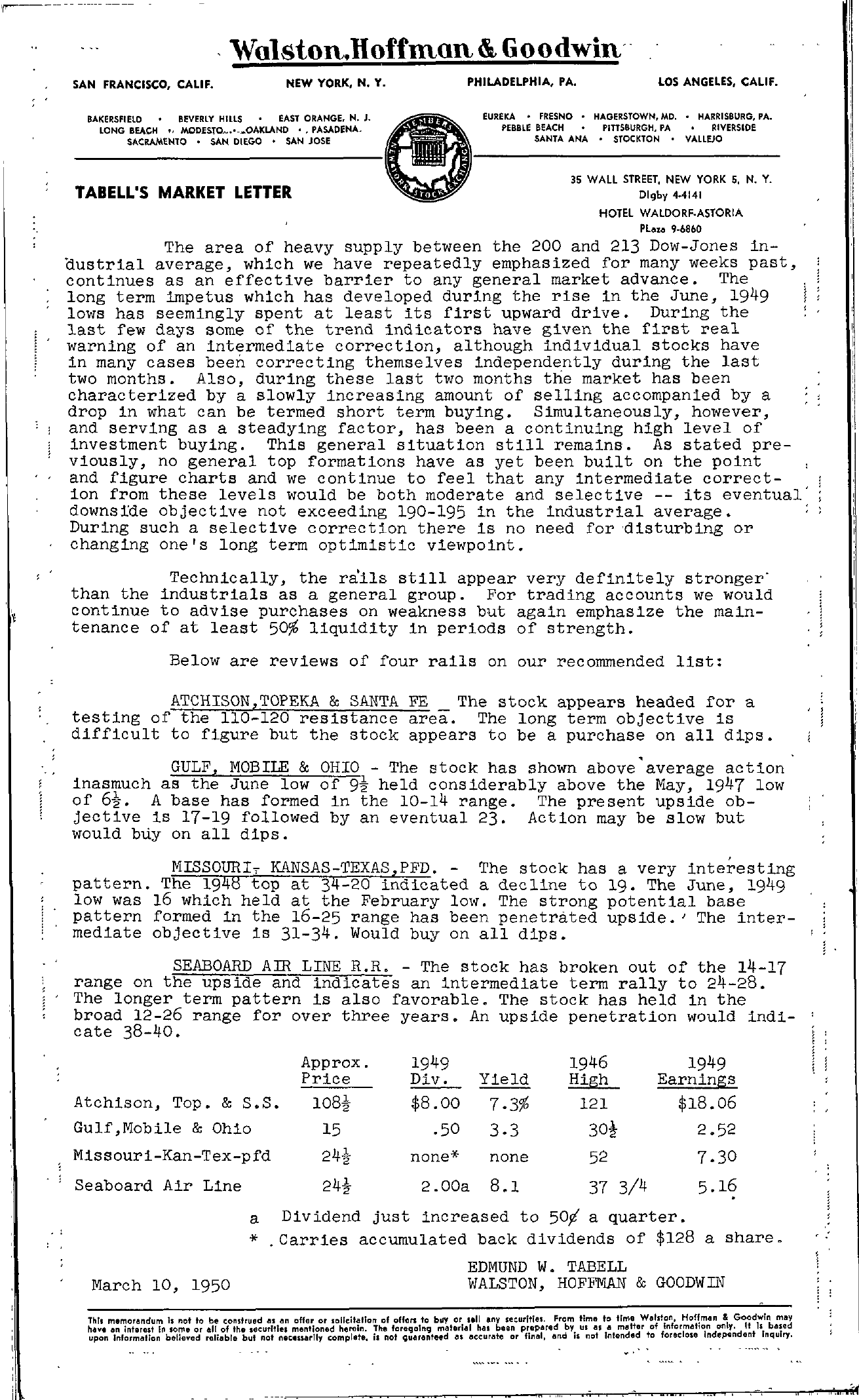 Tabell's Market Letter - March 10, 1950