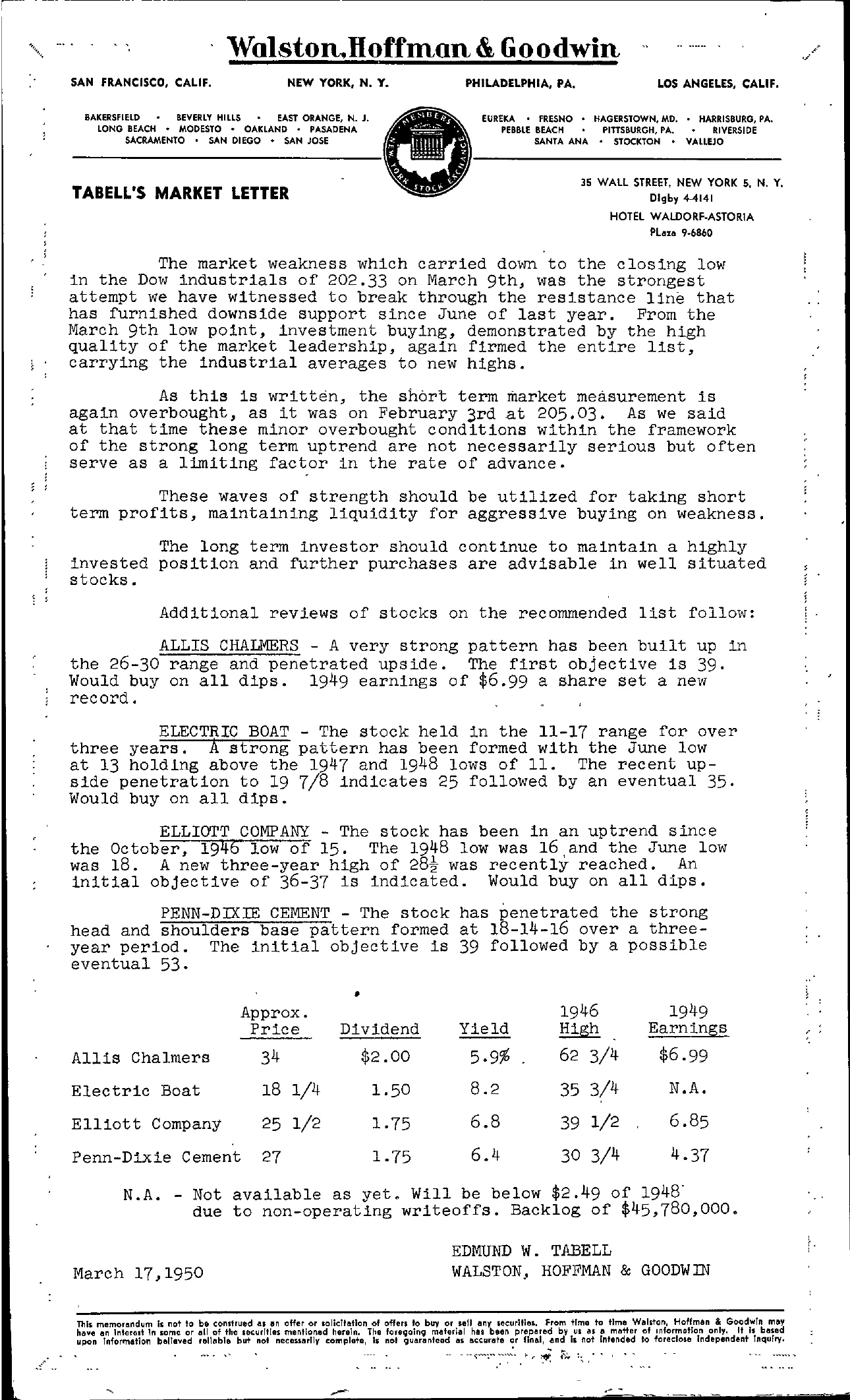 Tabell's Market Letter - March 17, 1950