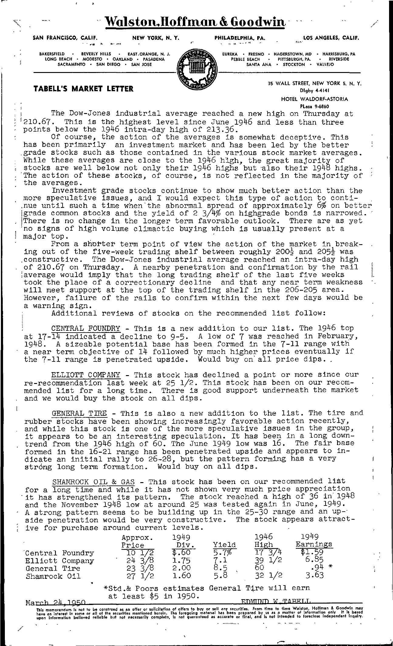 Tabell's Market Letter - March 24, 1950