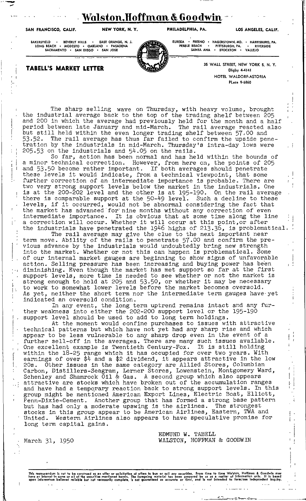 Tabell's Market Letter - March 31, 1950