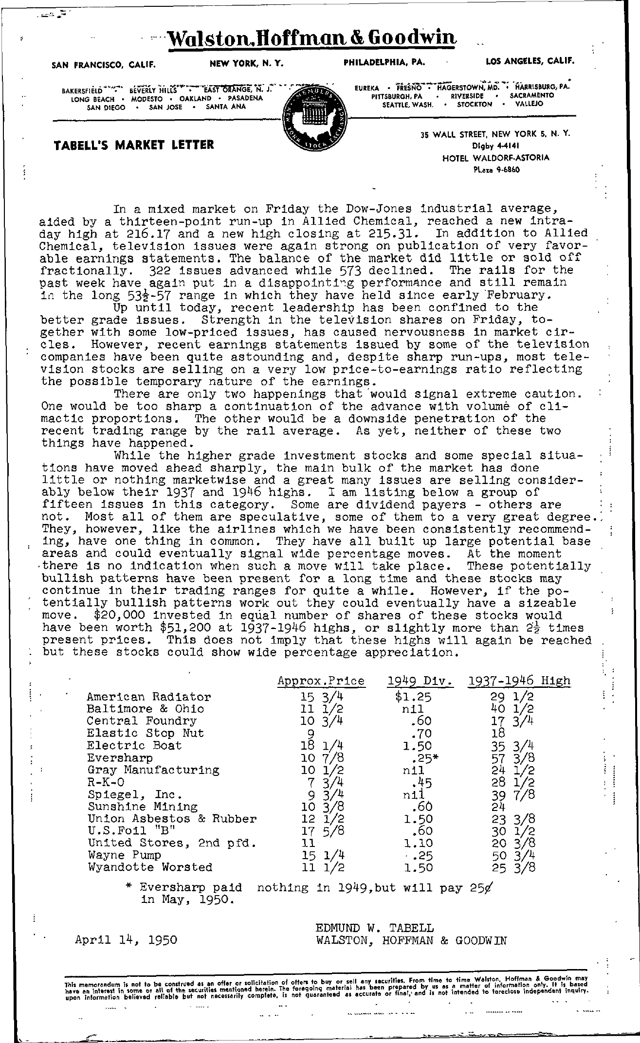 Tabell's Market Letter - April 14, 1950