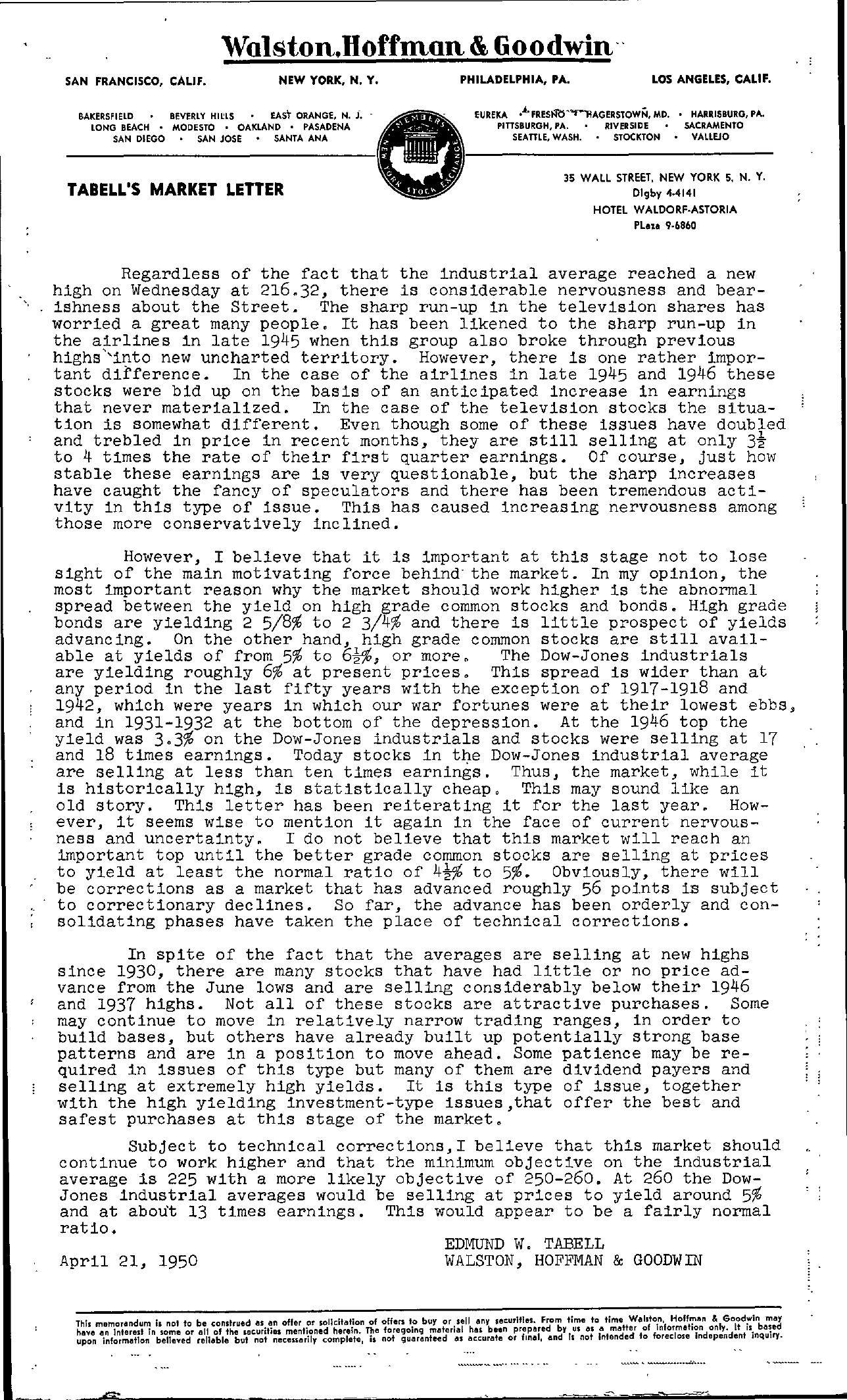 Tabell's Market Letter - April 21, 1950