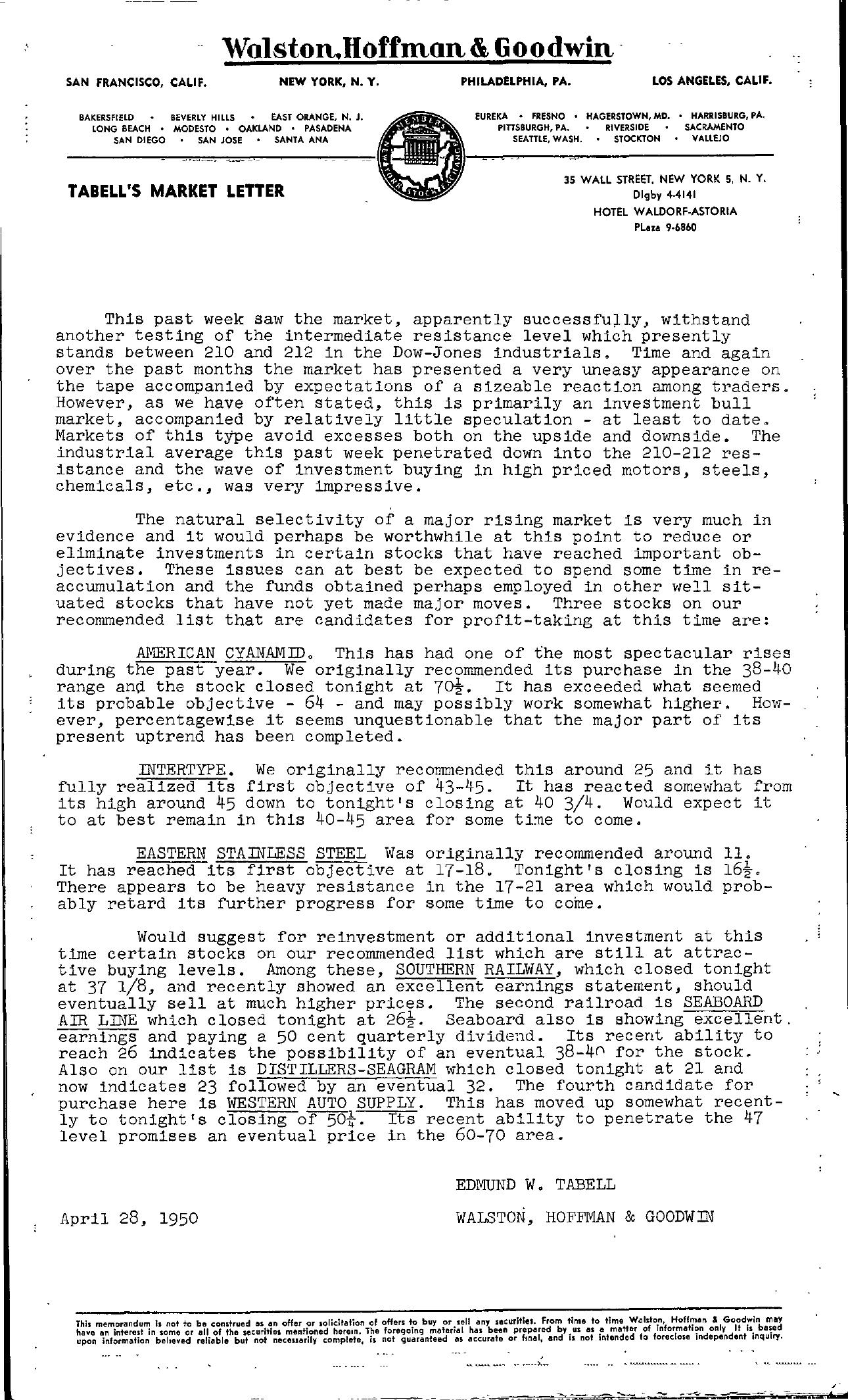 Tabell's Market Letter - April 28, 1950