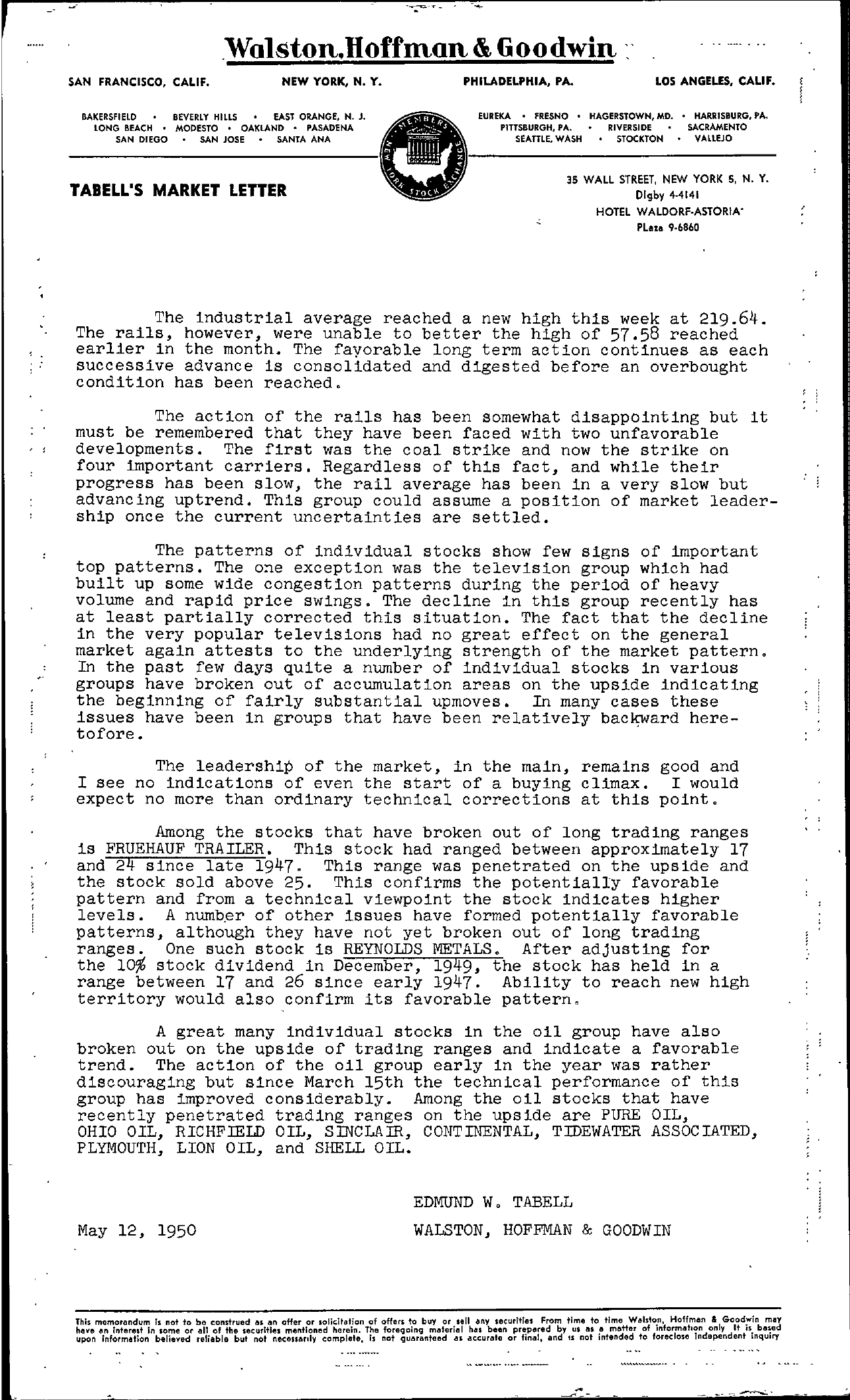 Tabell's Market Letter - May 12, 1950