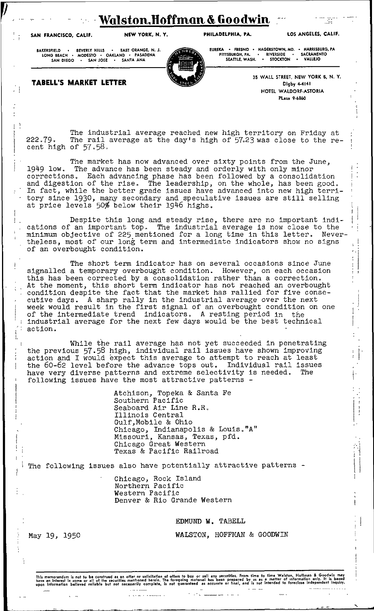 Tabell's Market Letter - May 19, 1950
