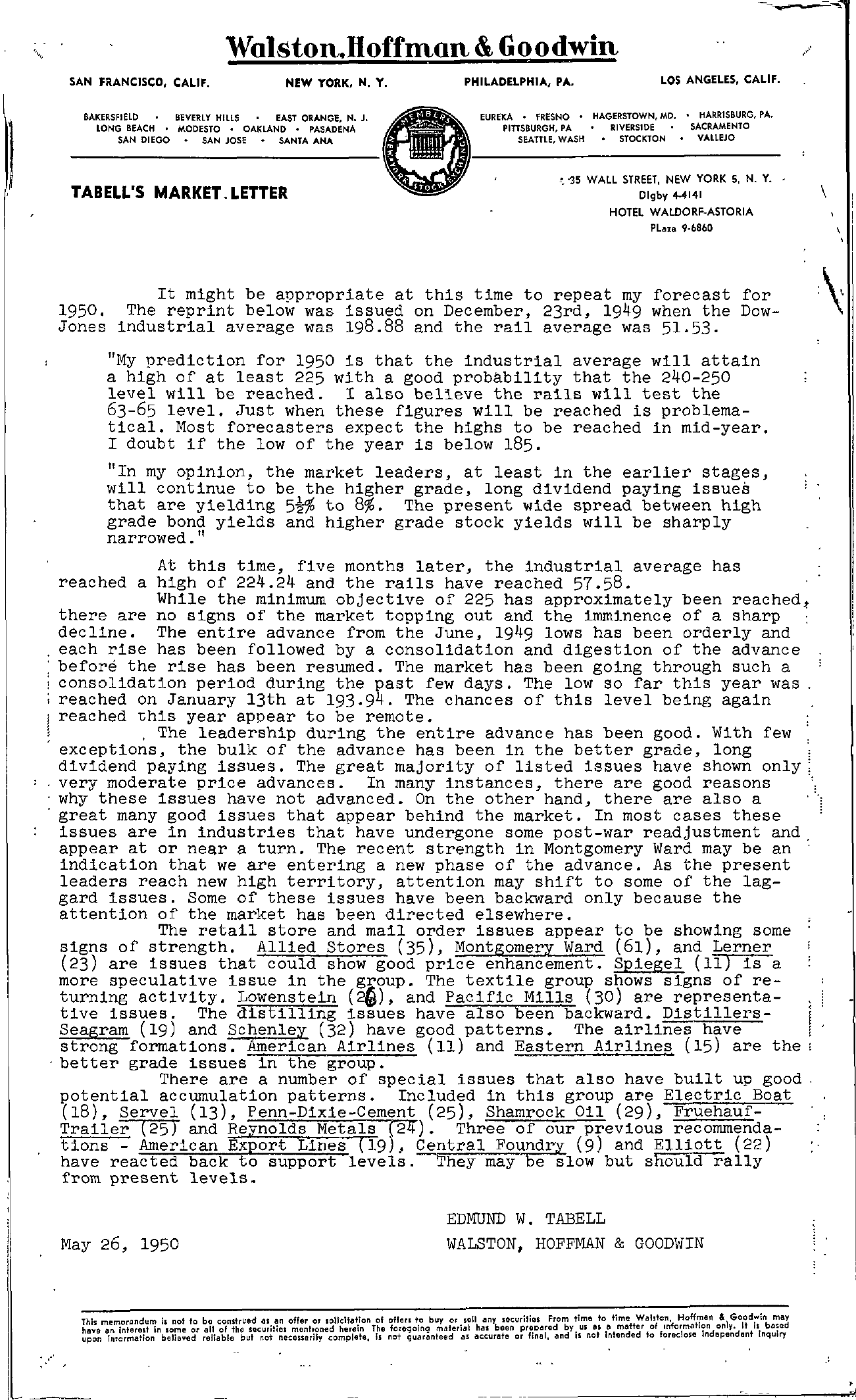 Tabell's Market Letter - May 26, 1950