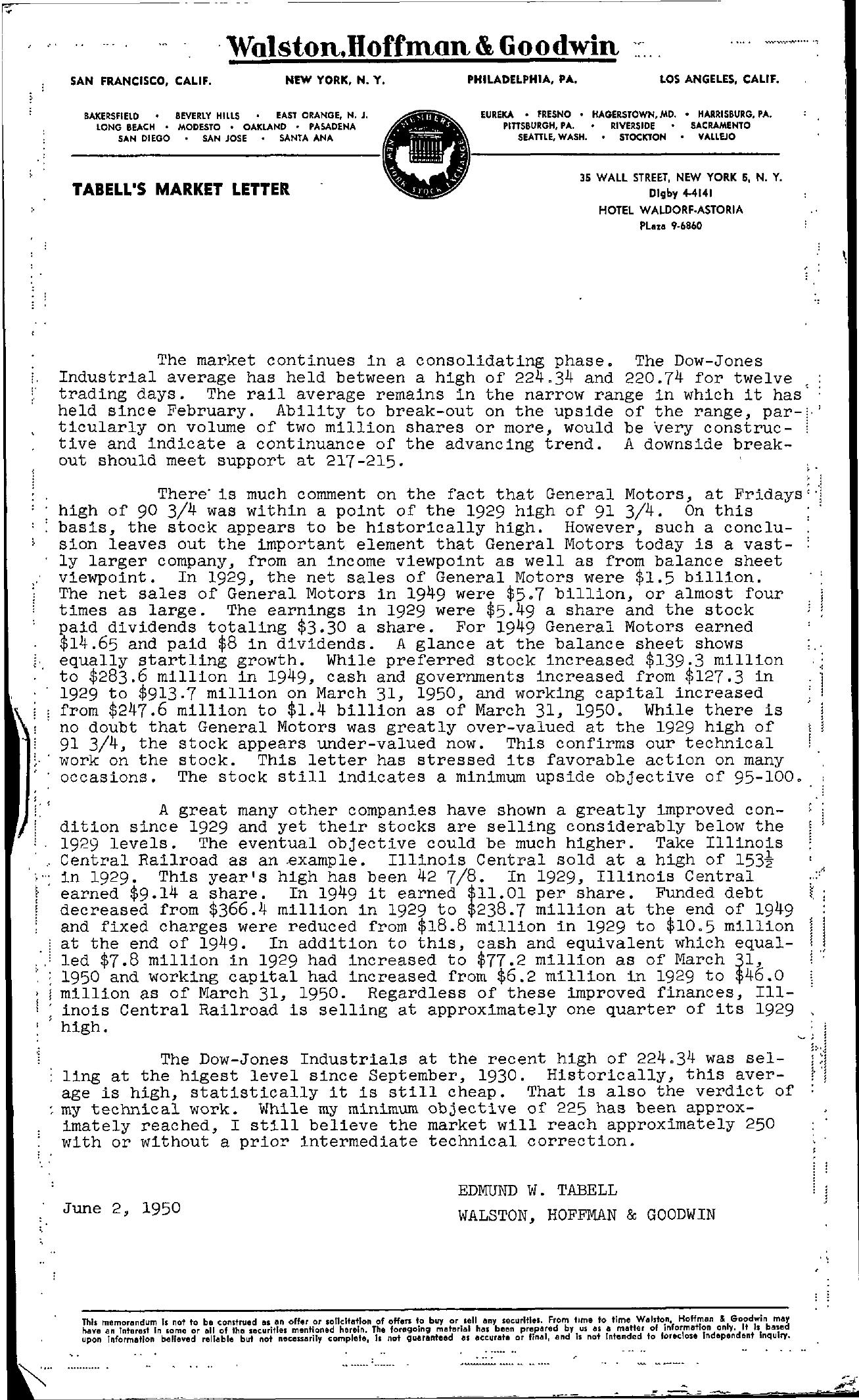 Tabell's Market Letter - June 02, 1950