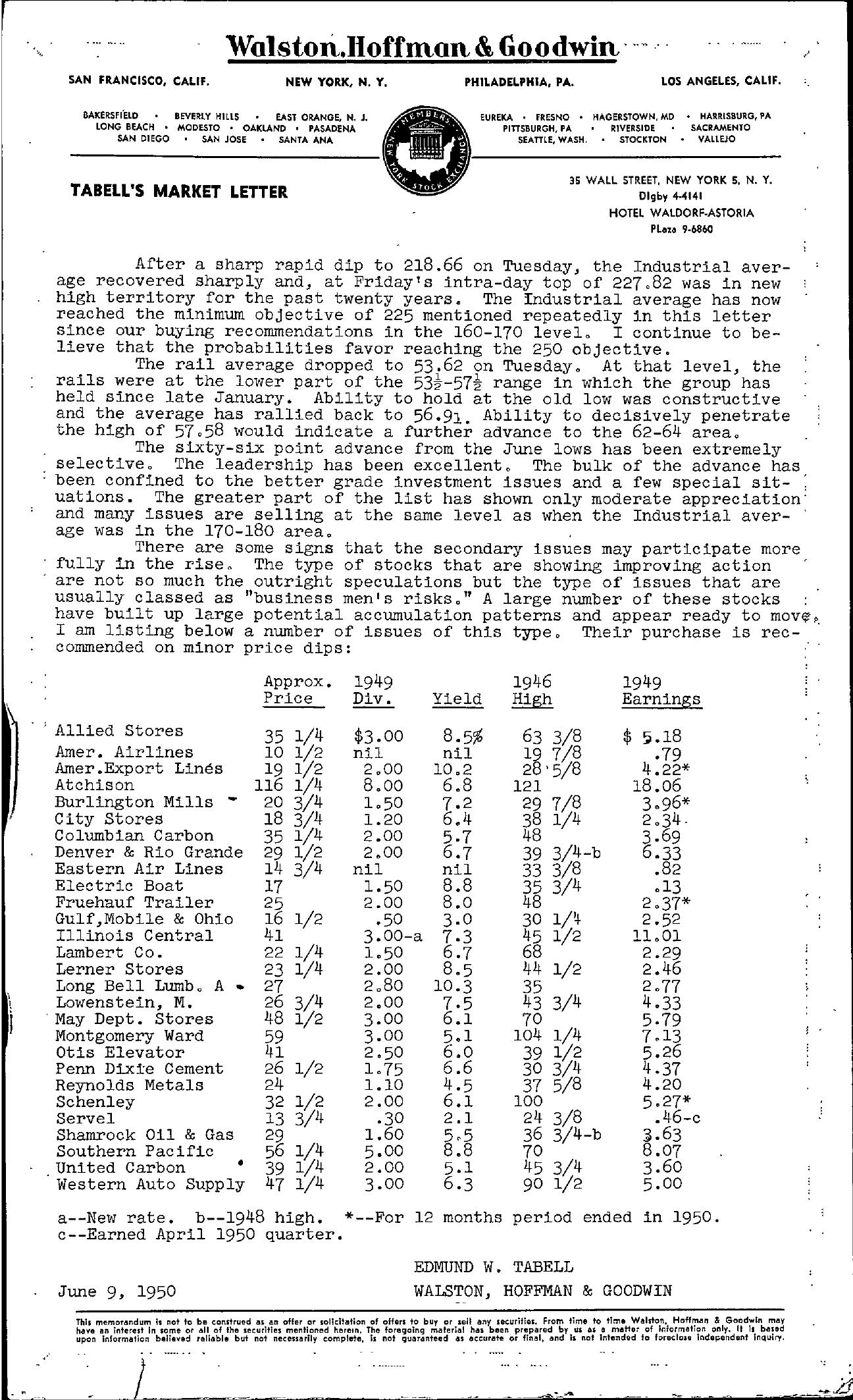 Tabell's Market Letter - June 09, 1950