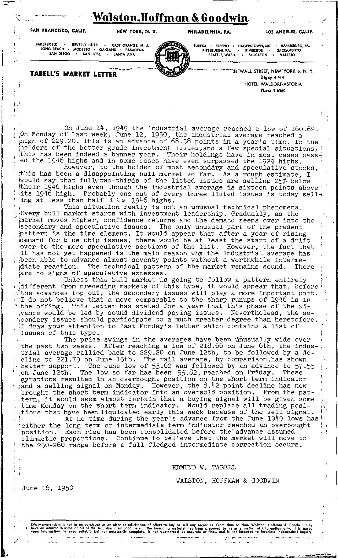 Tabell's Market Letter - June 16, 1950