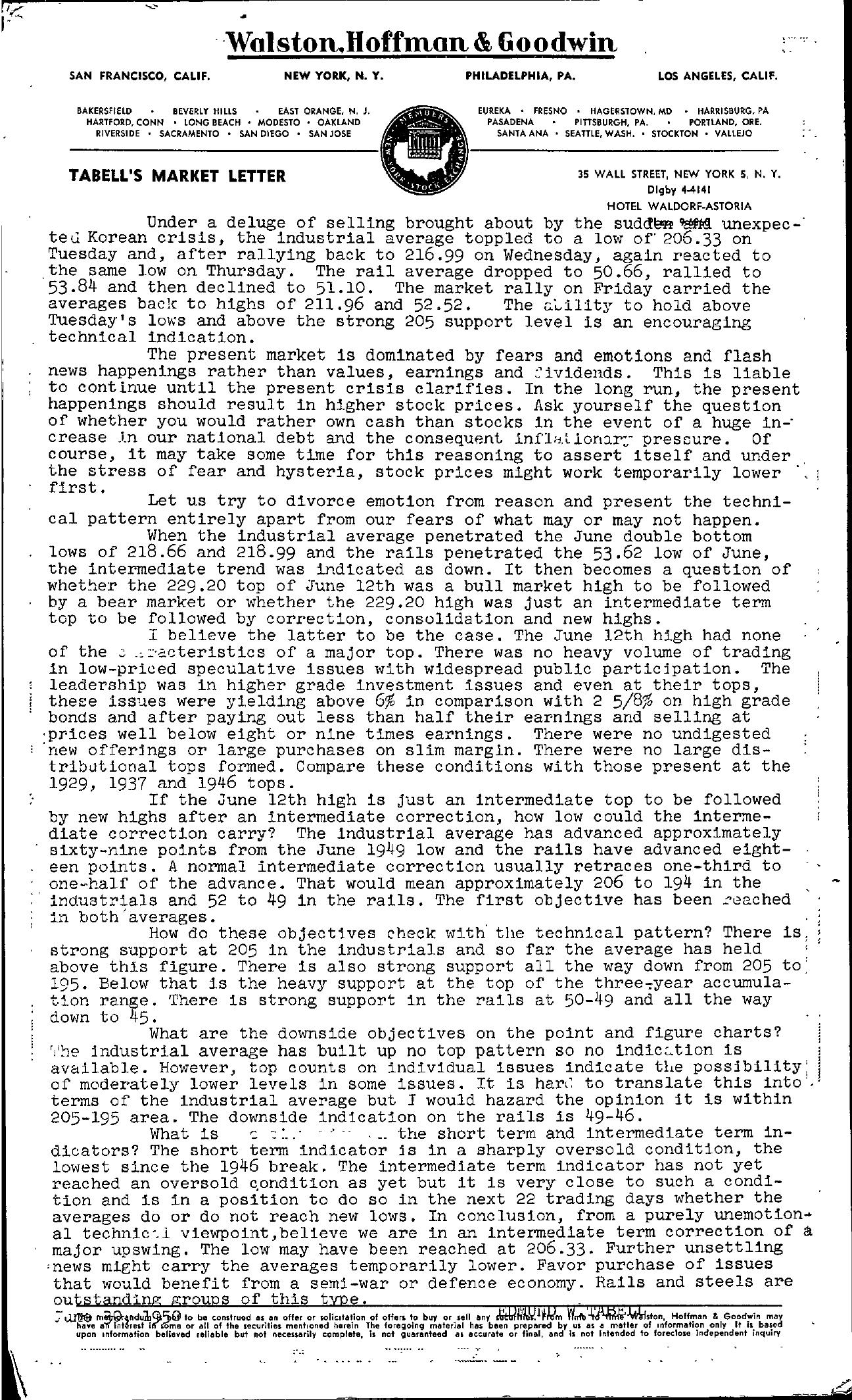 Tabell's Market Letter - June 30, 1950