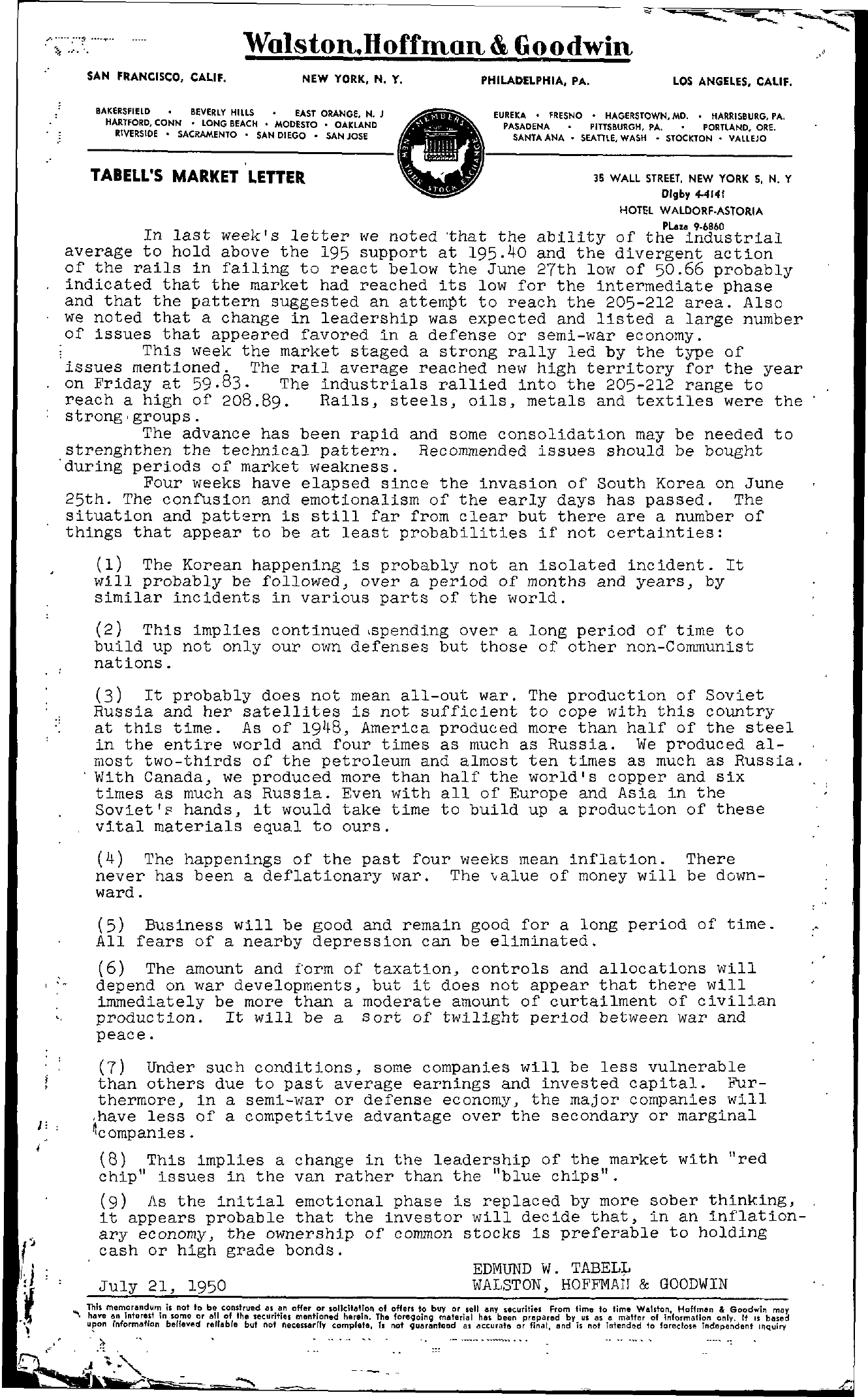 Tabell's Market Letter - July 21, 1950