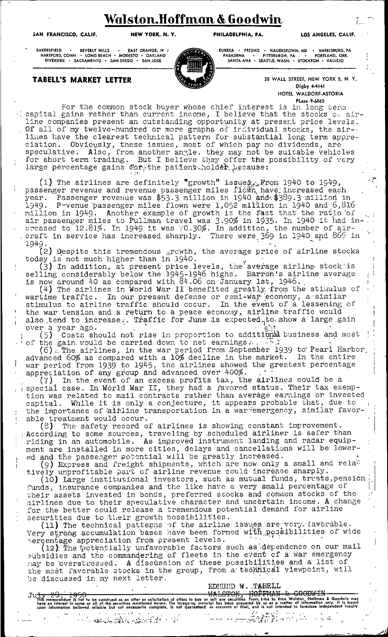 Tabell's Market Letter - July 29, 1950