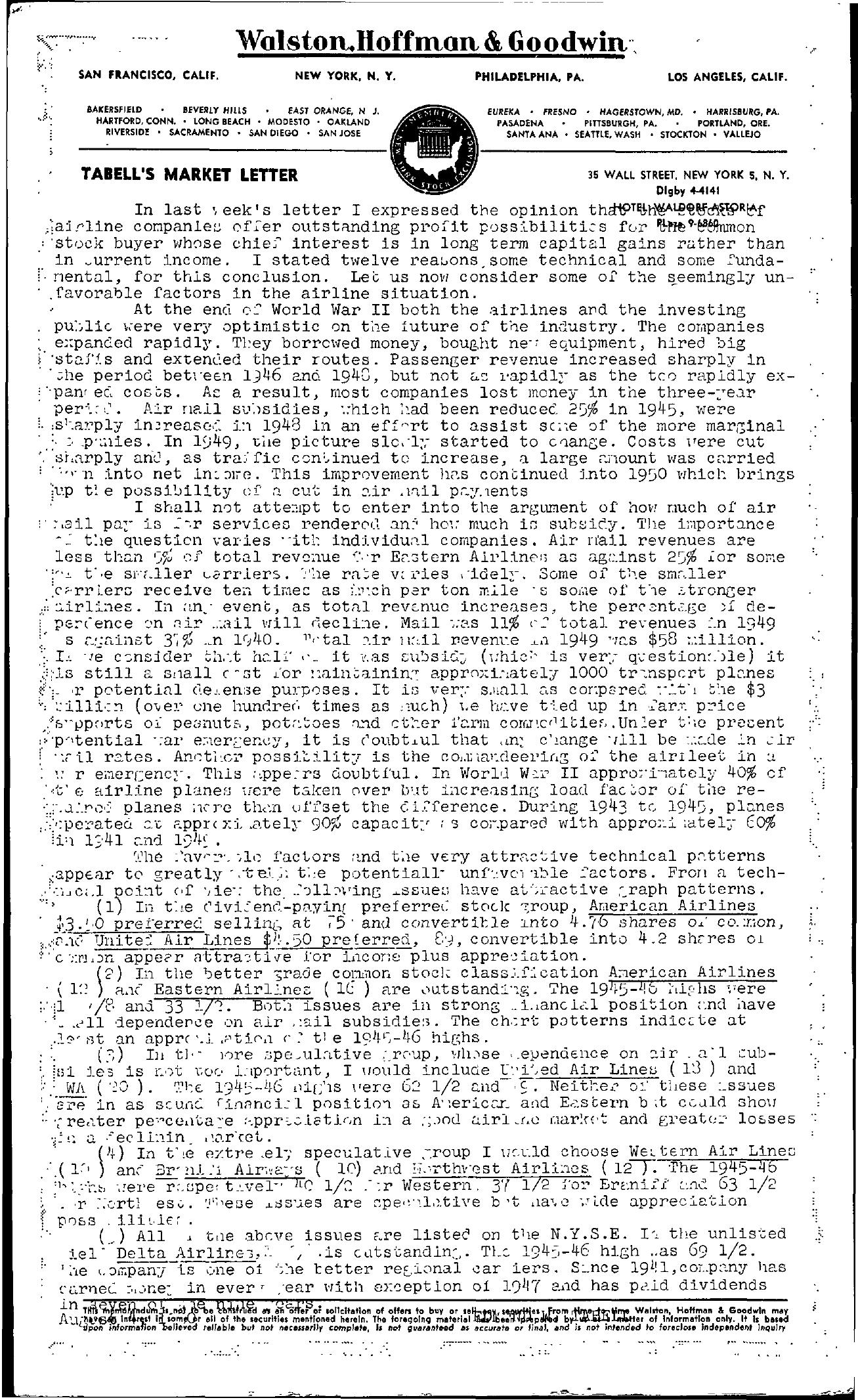 Tabell's Market Letter - August 04, 1950