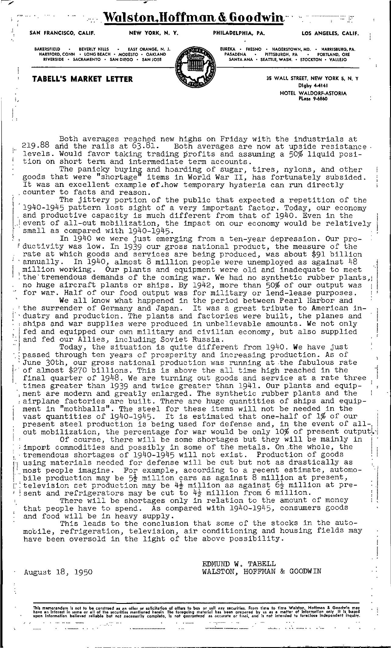 Tabell's Market Letter - August 18, 1950