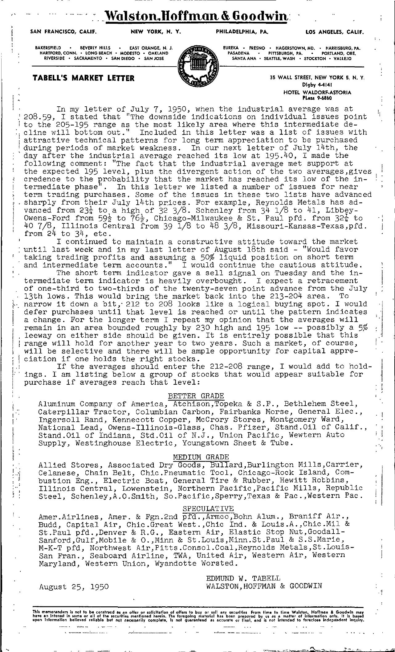 Tabell's Market Letter - August 25, 1950