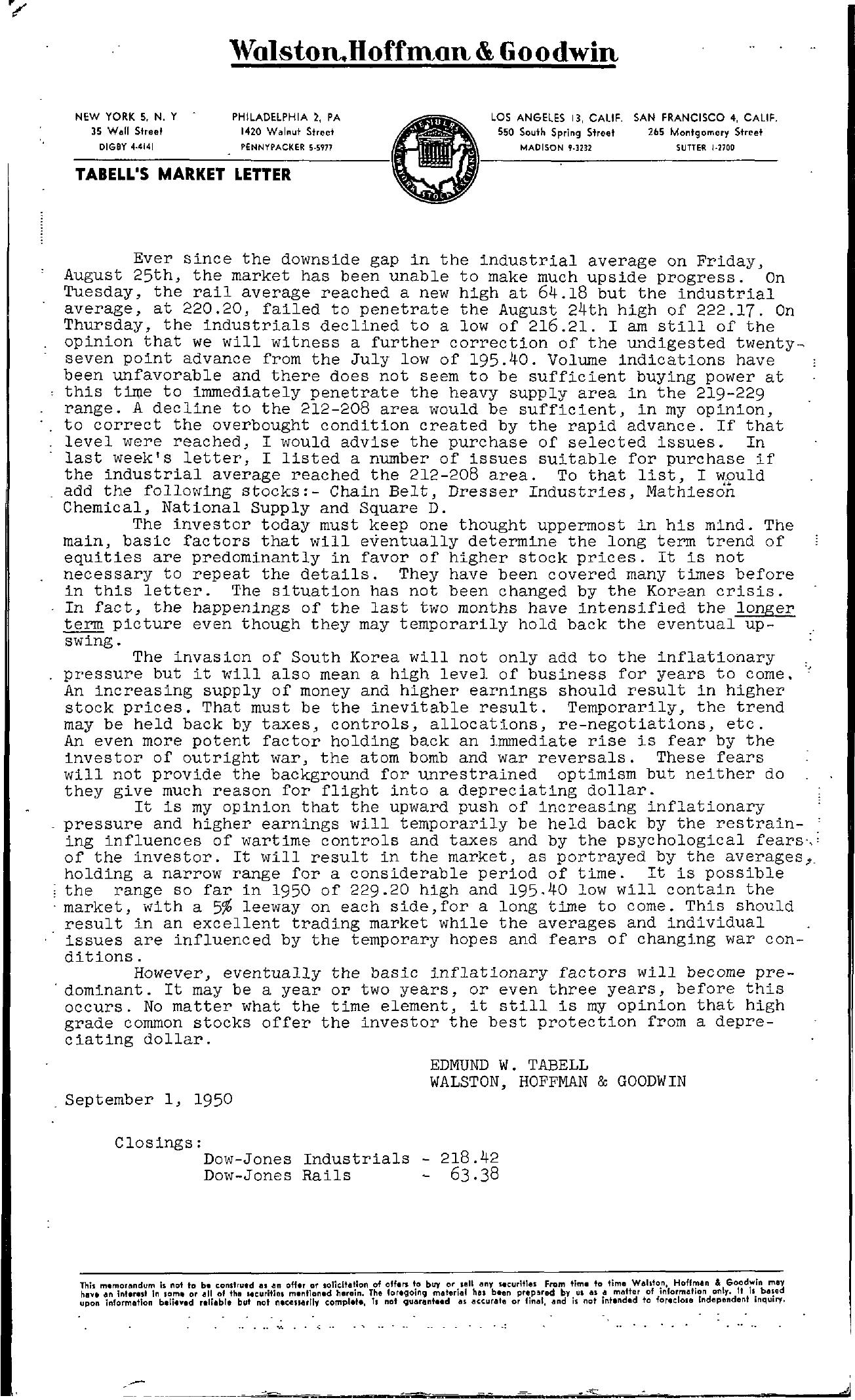 Tabell's Market Letter - September 01, 1950