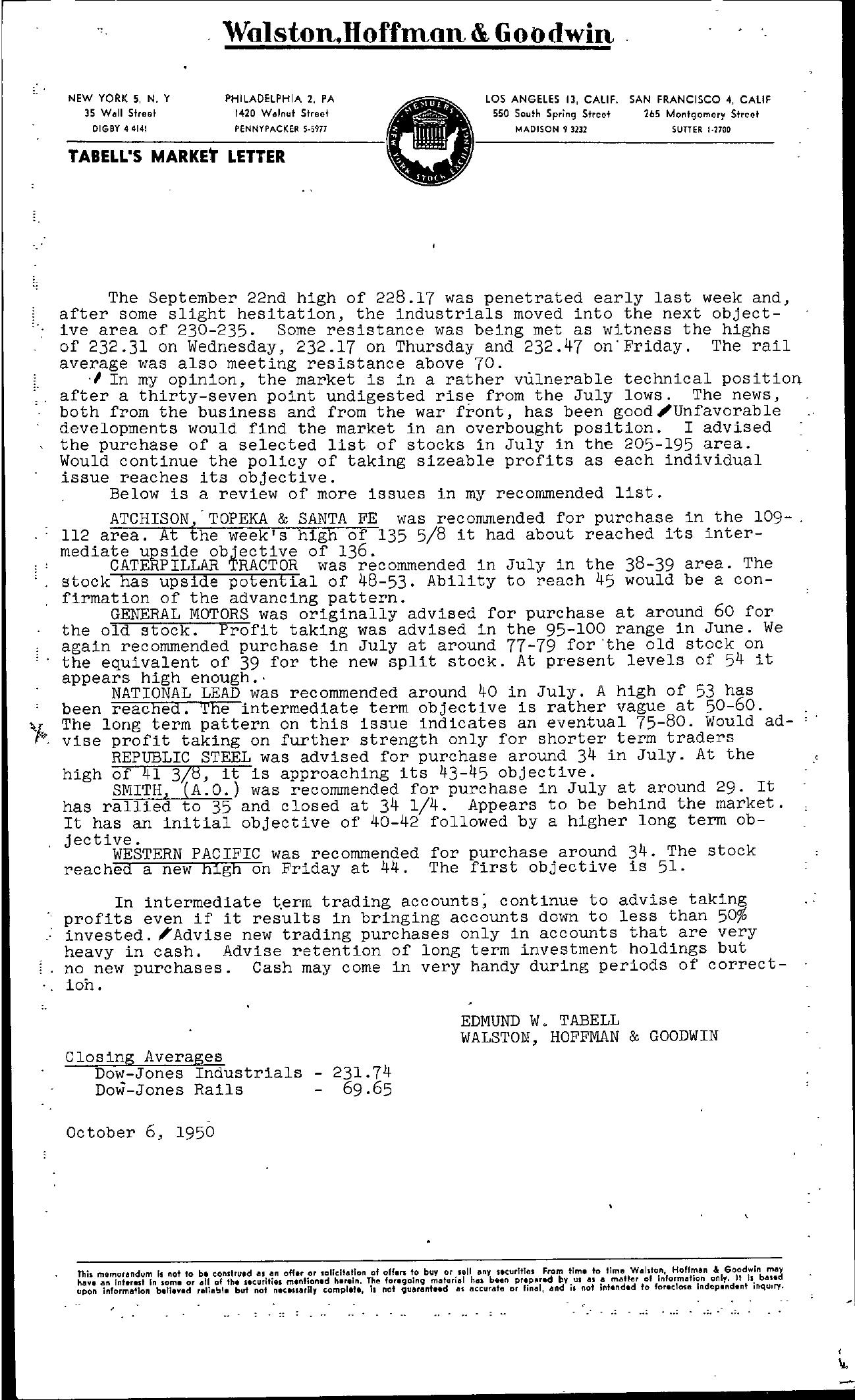 Tabell's Market Letter - October 06, 1950