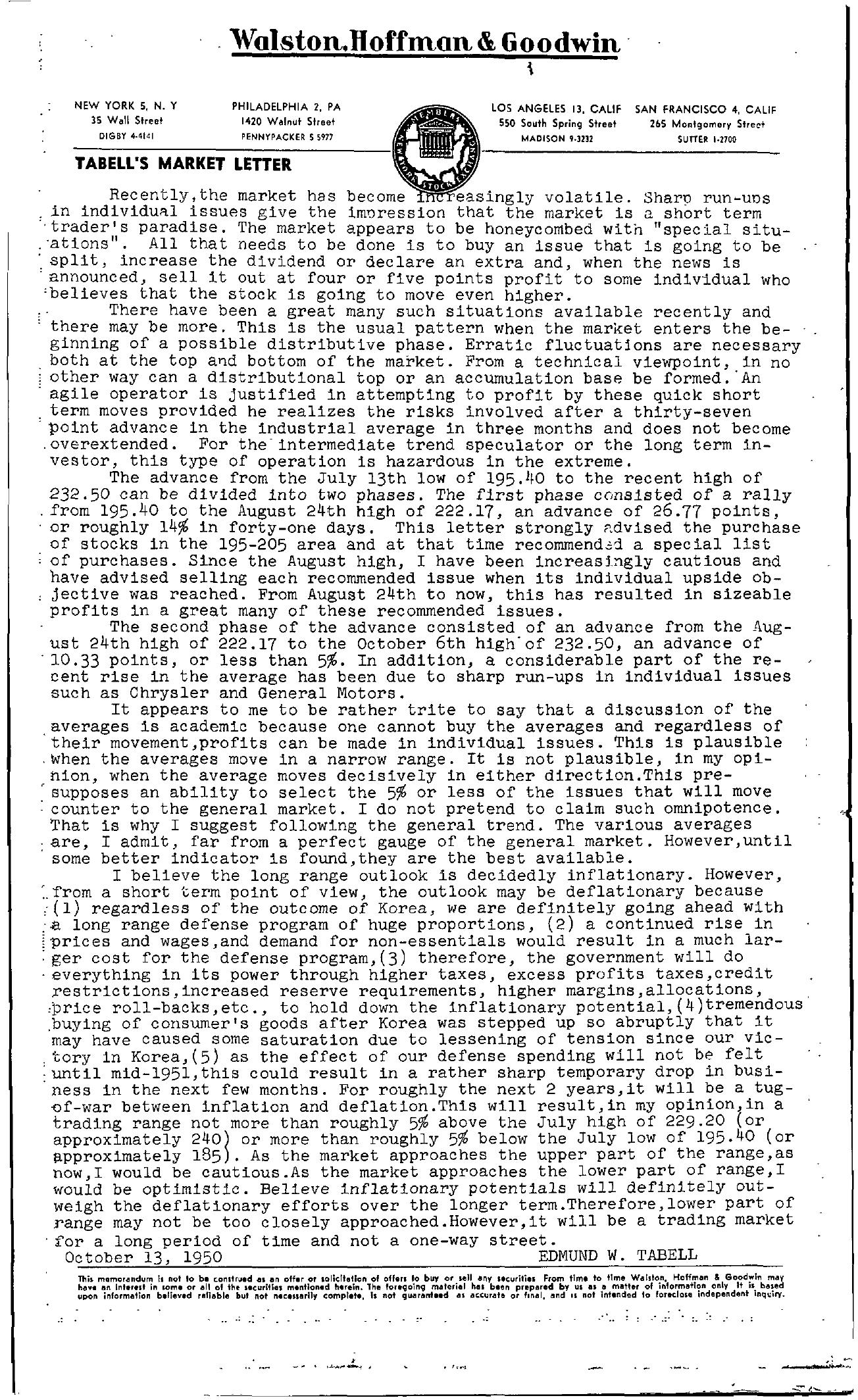Tabell's Market Letter - October 13, 1950