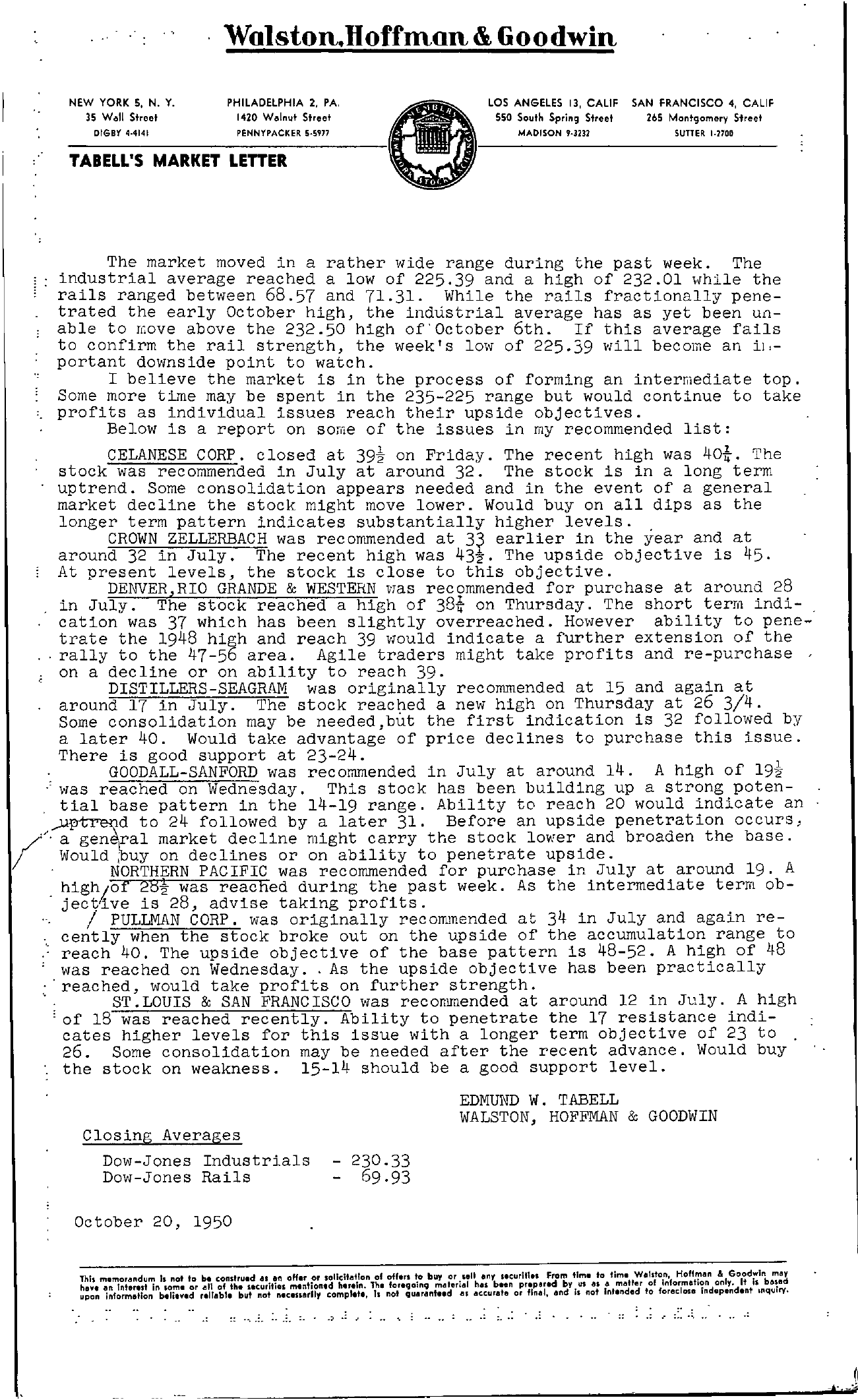 Tabell's Market Letter - October 20, 1950