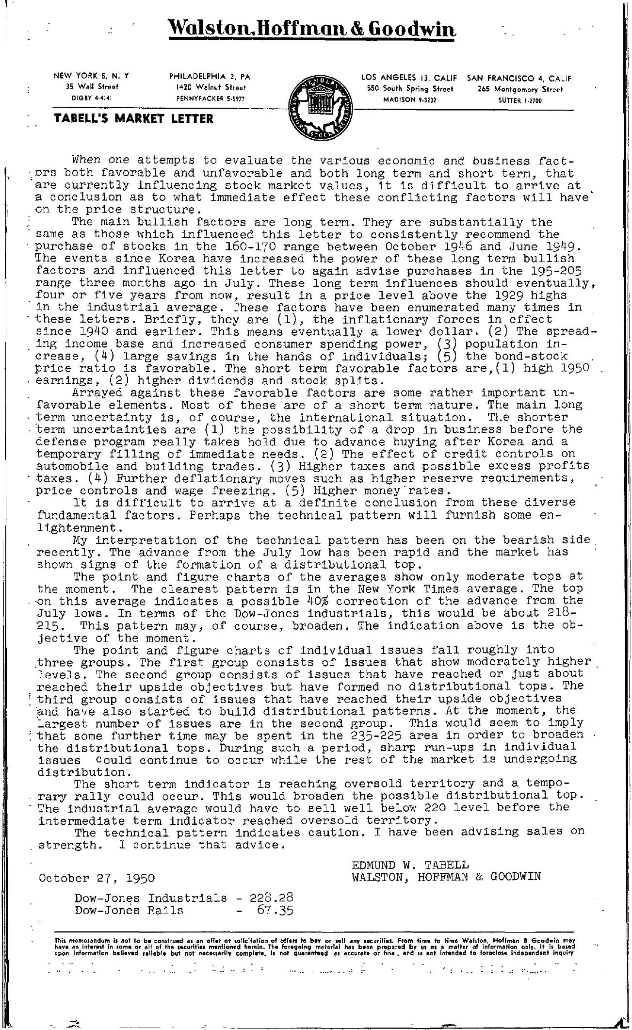 Tabell's Market Letter - October 27, 1950