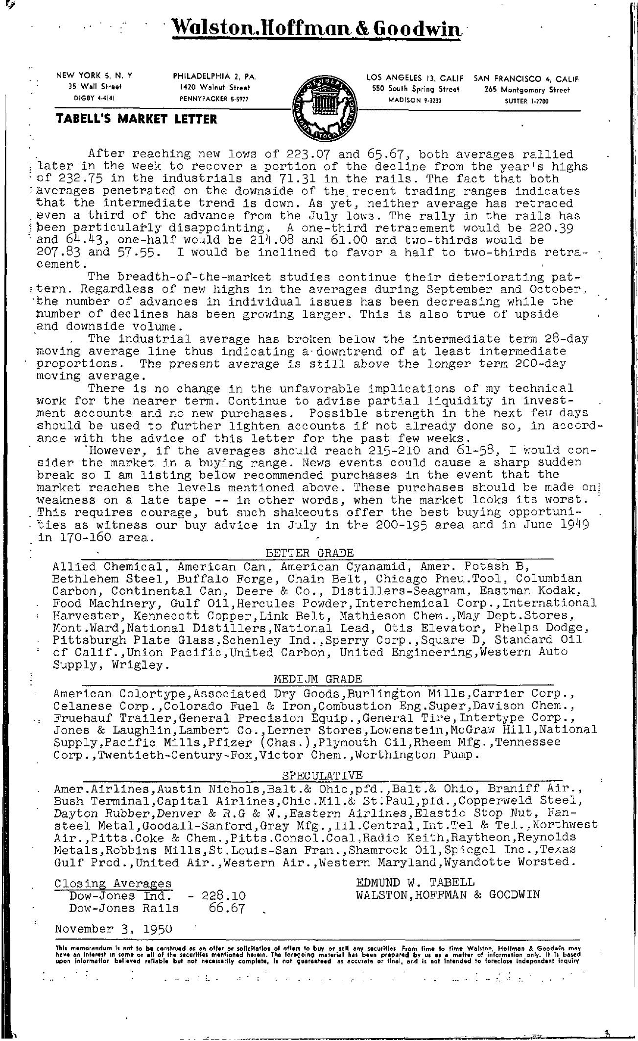 Tabell's Market Letter - November 03, 1950