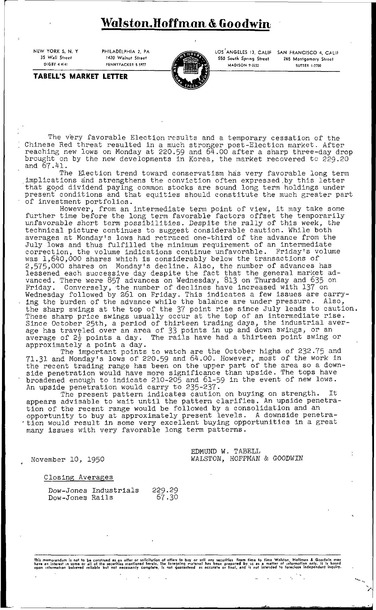 Tabell's Market Letter - November 10, 1950