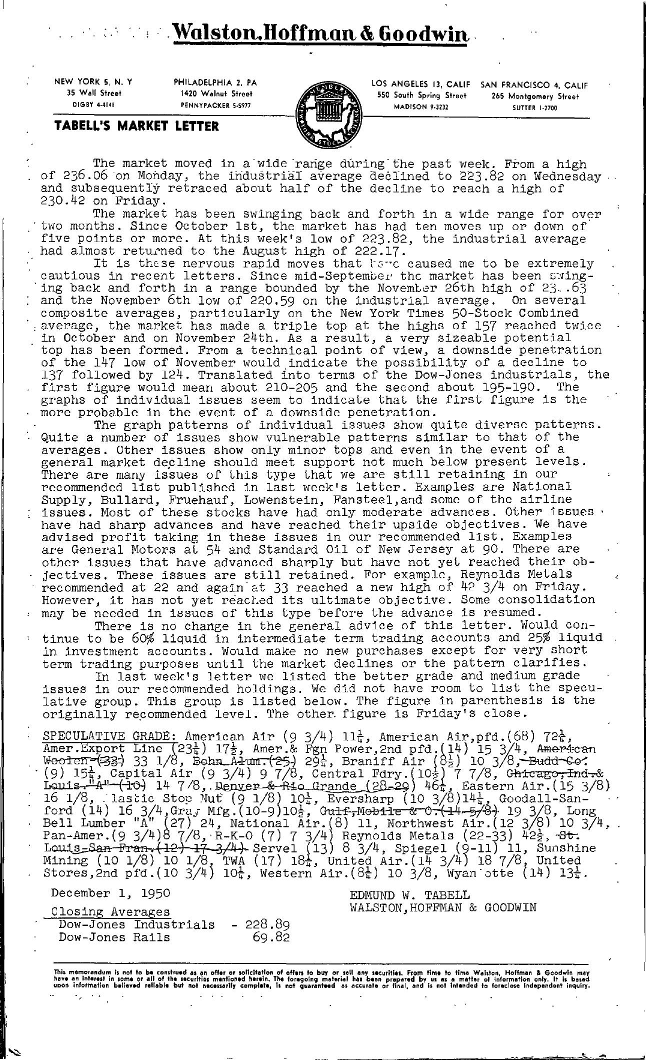 Tabell's Market Letter - December 01, 1950