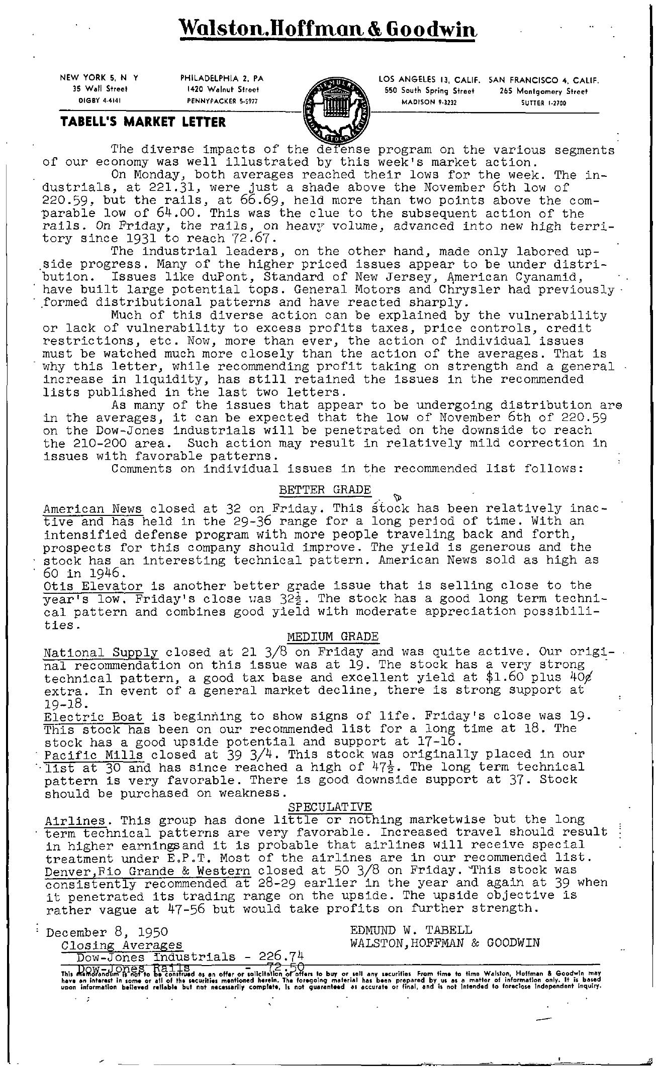Tabell's Market Letter - December 08, 1950